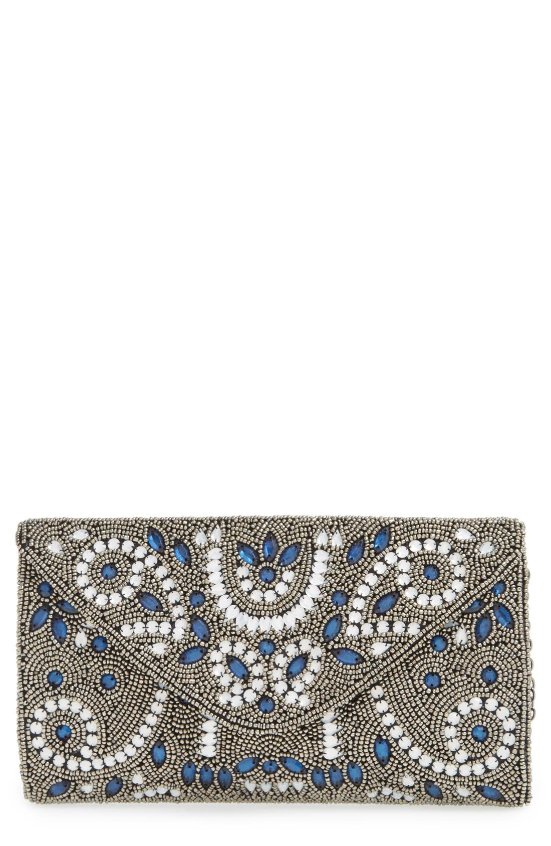 Glint Beaded Crystal Envelope Clutch