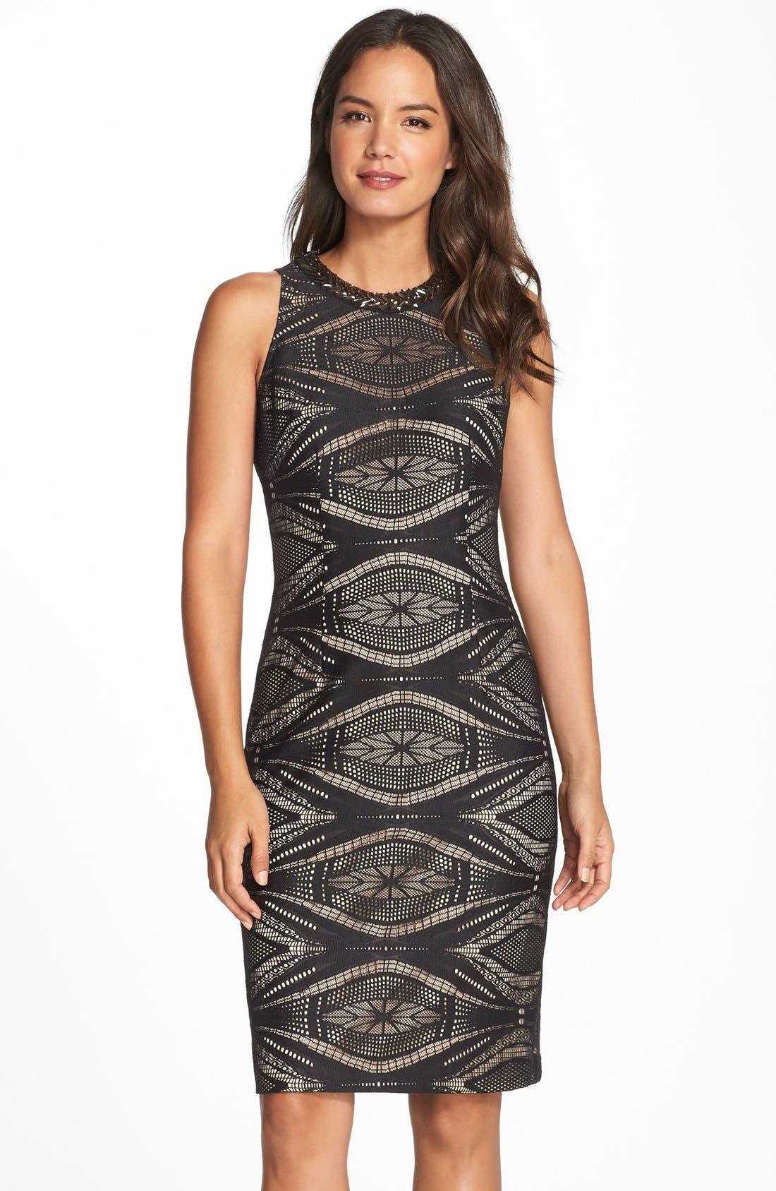 Alternate Image 1 Selected - Maggy London Embellished Lace Sheath Dress