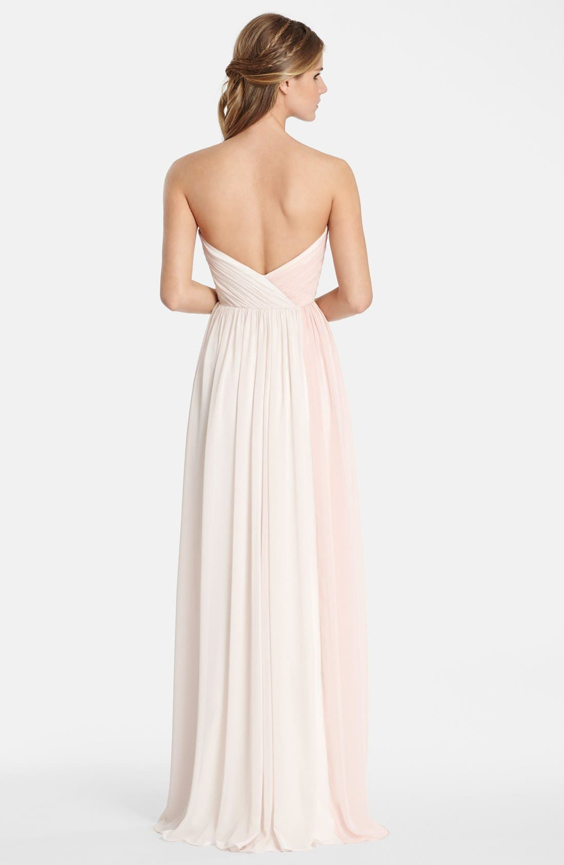 Alternate Image 2  - Jim HjelmOccasions Two Tone Strapless Chiffon Gown