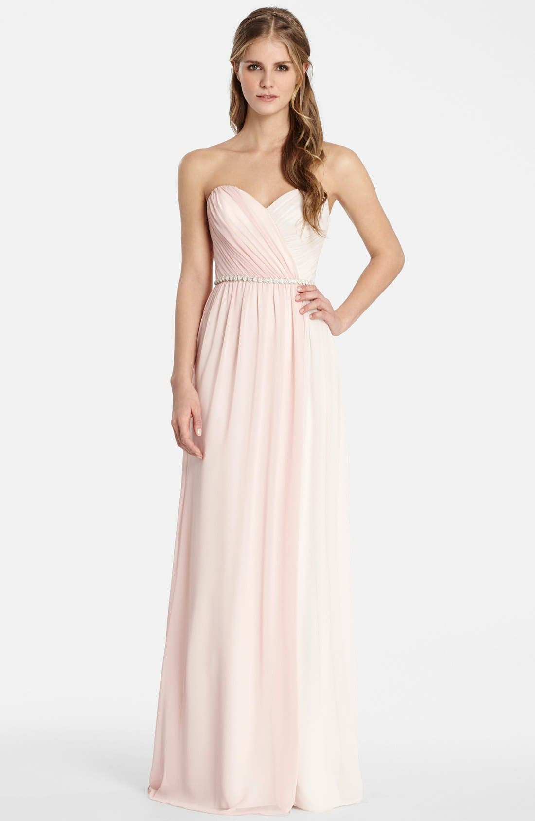 Alternate Image 1 Selected - Jim HjelmOccasions Two Tone Strapless Chiffon Gown