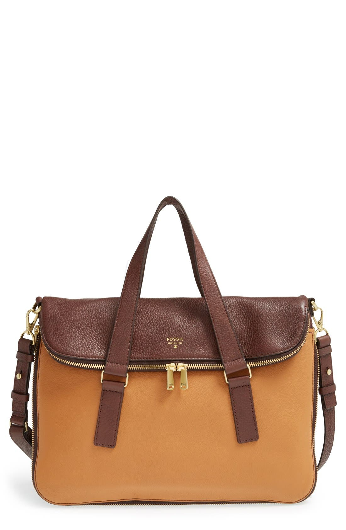 Main Image - Fossil 'Preston' Foldover Leather Tote (Online Only)
