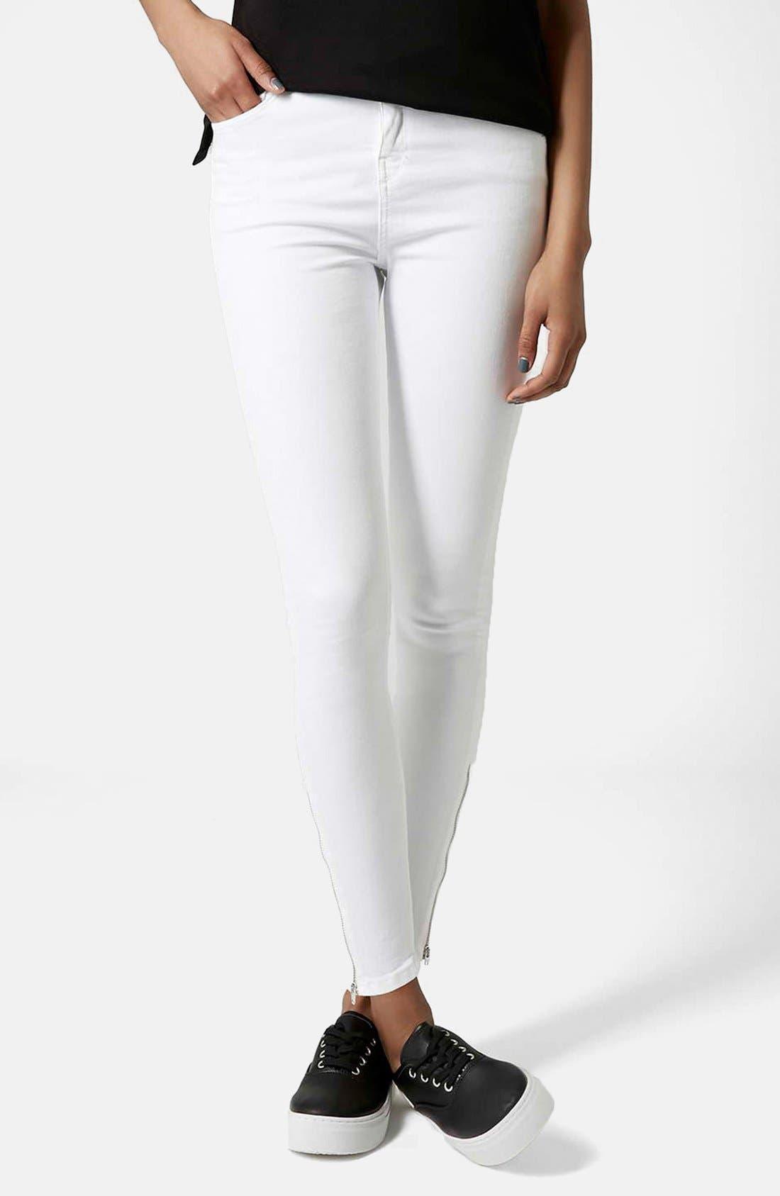 Main Image - Topshop Moto 'Jamie' Ankle Zip Jeans (White) (Regular & Short)