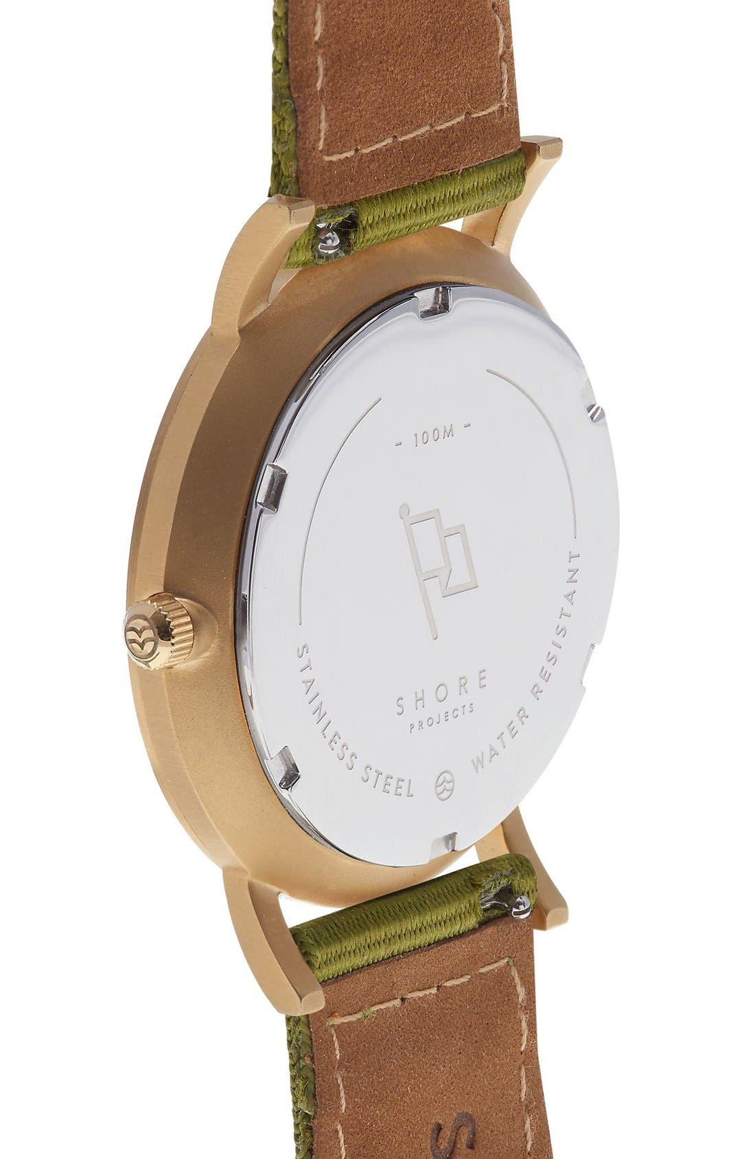Alternate Image 4  - Shore Projects 'Project 1' Leather & Nylon Strap Watch, 39mm