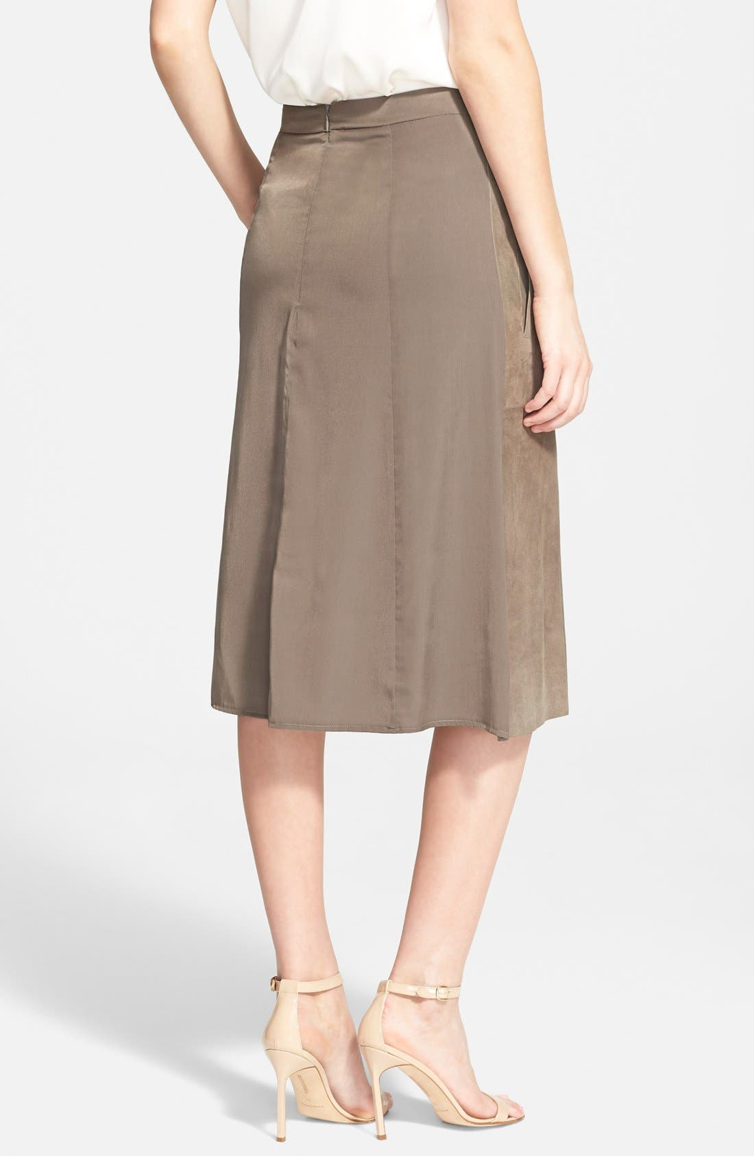 Alternate Image 2  - Halston Heritage Studded Suede Front Midi Skirt