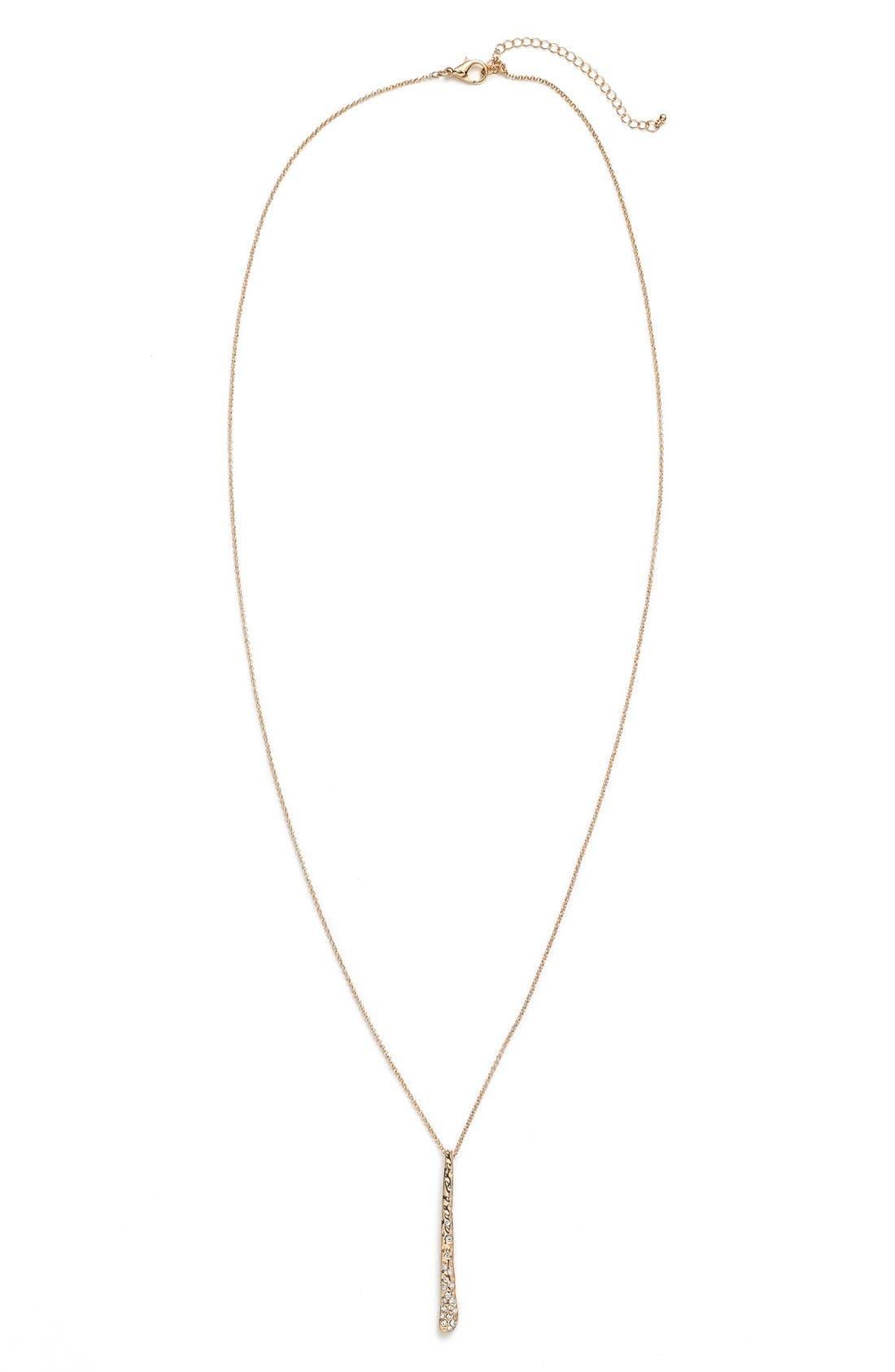 Main Image - BP. Rhinestone Hammered Bar Pendant Necklace