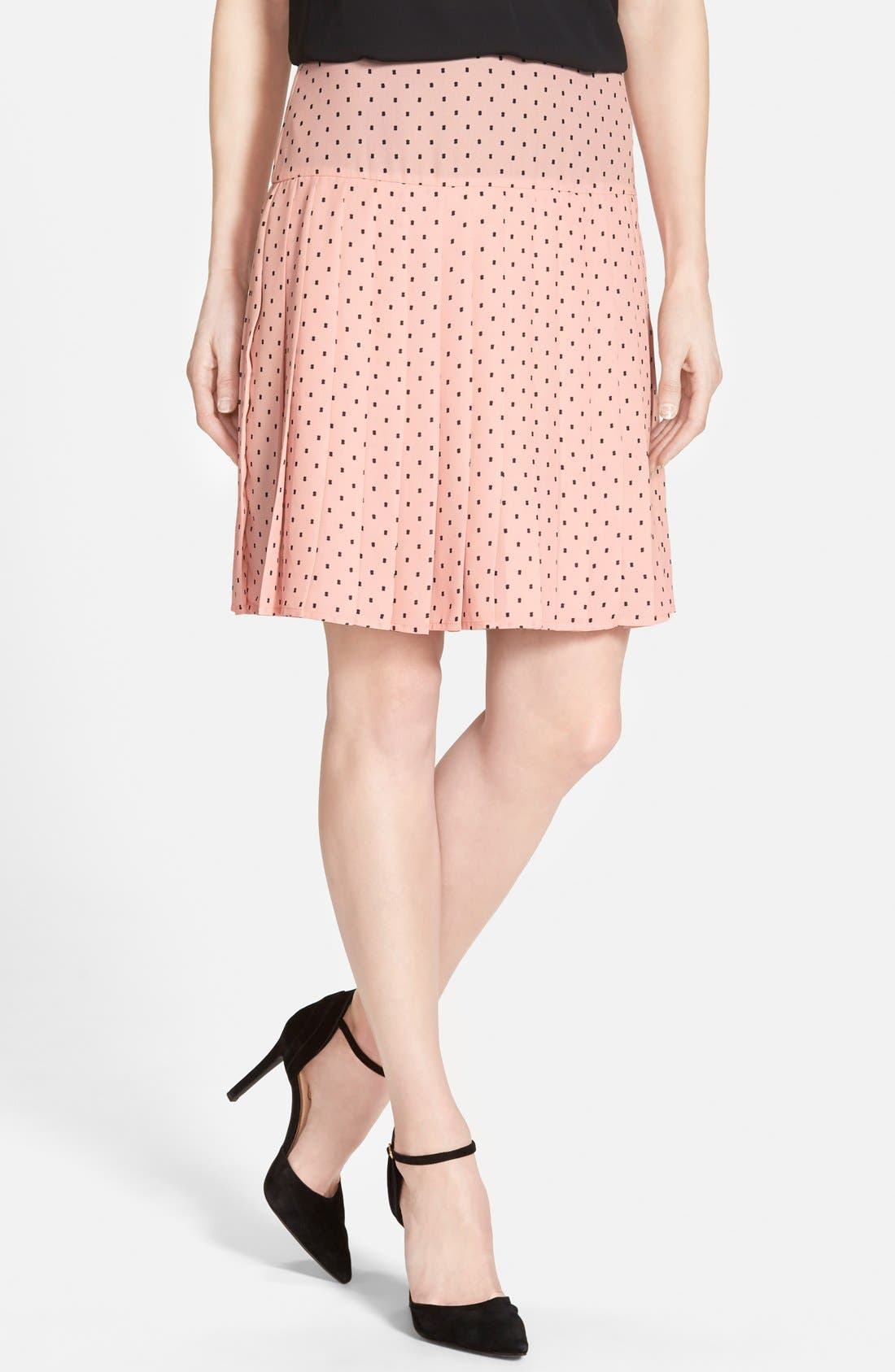 Alternate Image 1 Selected - Halogen® Print Pleat Drop Yoke Skirt (Regular & Petite)