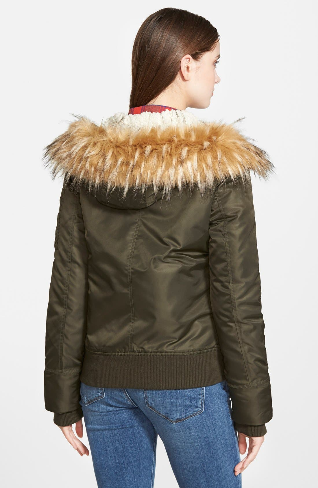 Alternate Image 2  - GUESS Hooded Satin Bomber Jacket with Faux Fur Trim & Faux Shearling Lining