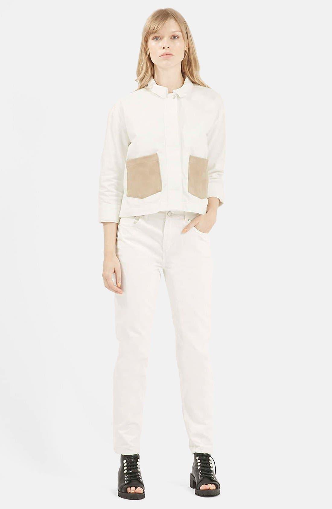 Alternate Image 7  - Topshop Boutique Slim Leg Jeans (Cream)