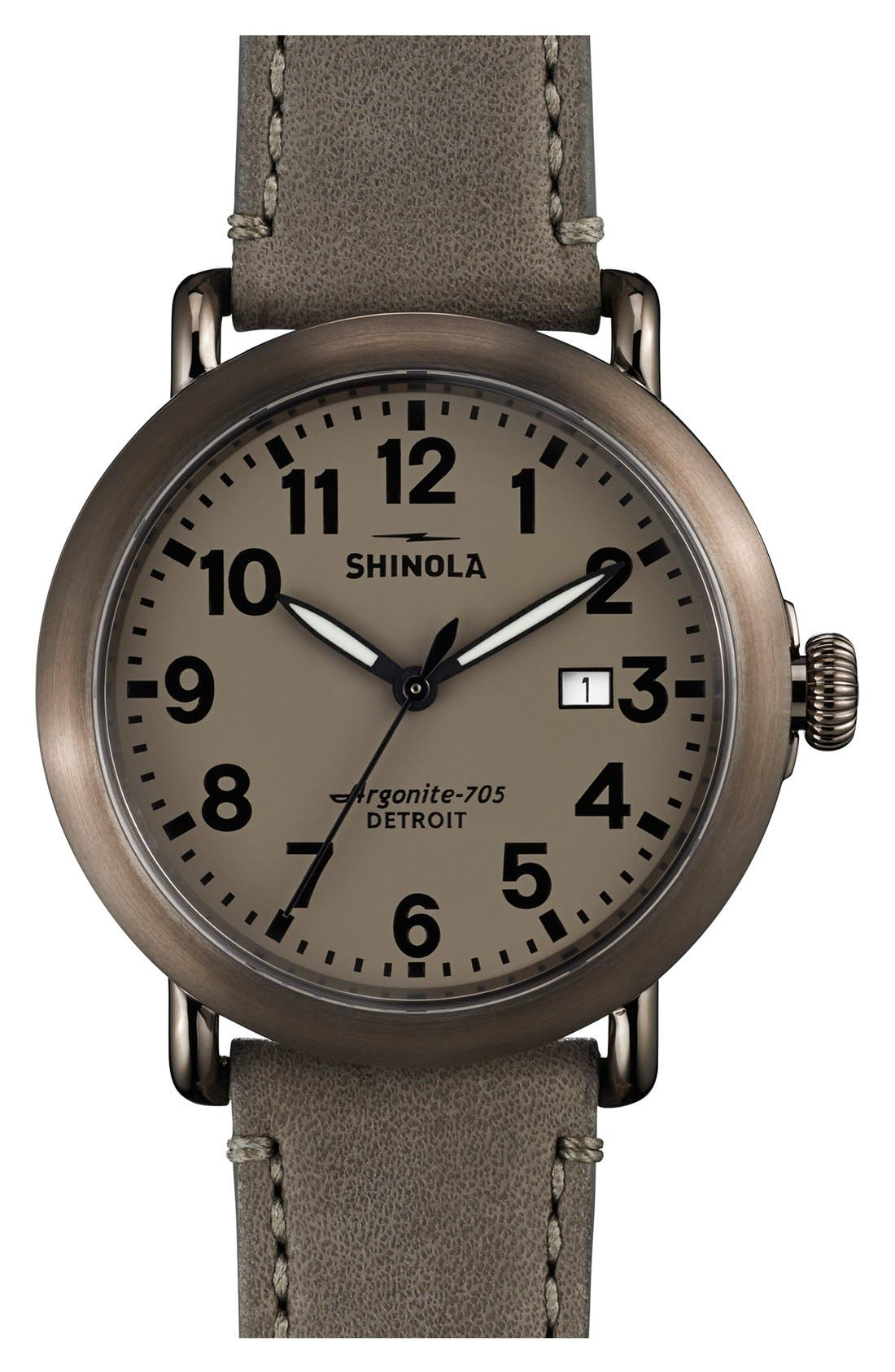 Alternate Image 1 Selected - Shinola 'Runwell' Leather Strap Watch, 41mm