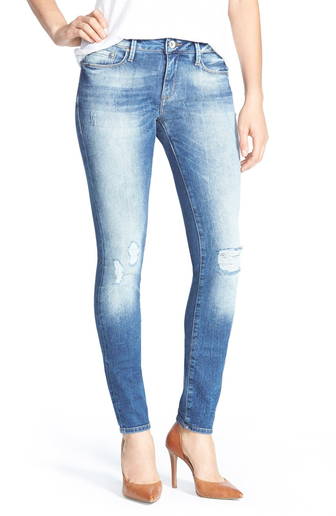 Alternate Image 1 Selected - Mavi Jeans 'Alexa' Distressed Stretch Skinny Jeans (Mid Patched Vintage)