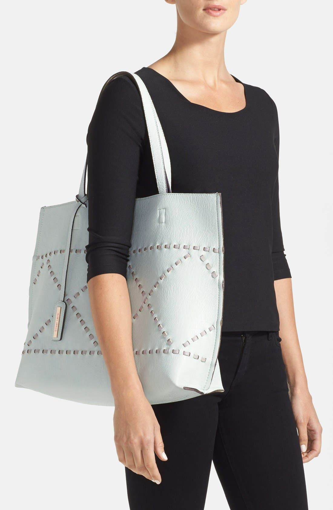 Alternate Image 2  - Street Level Reversible Woven Faux Leather Tote