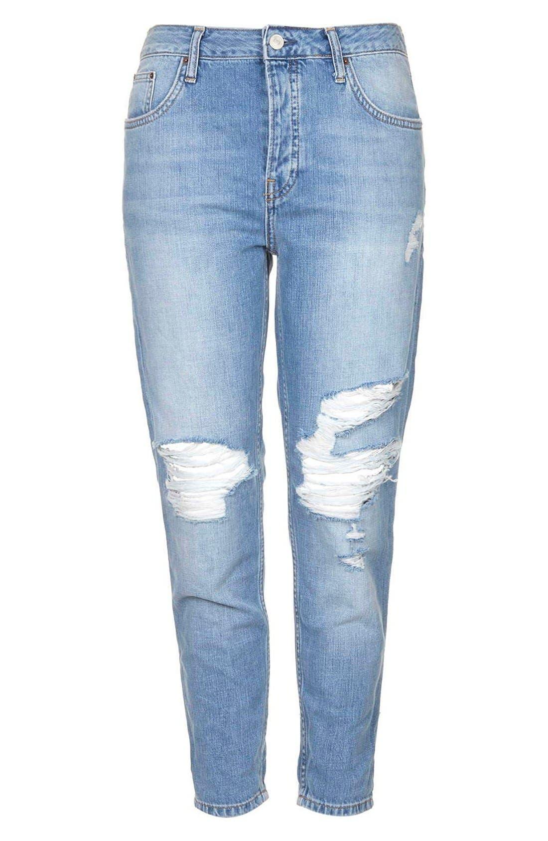 Alternate Image 3  - Topshop Moto 'Hayden' Ripped Boyfriend Jeans (Blue)
