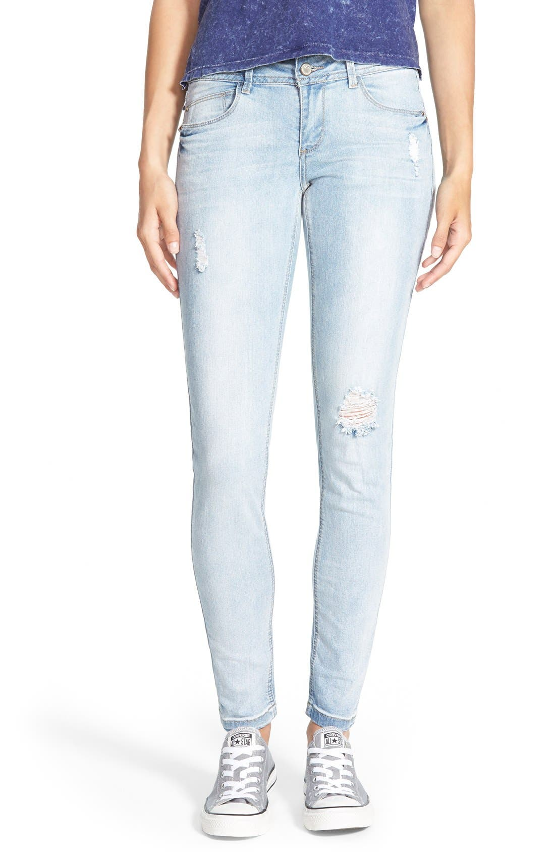 Alternate Image 1 Selected - HART Denim Deconstructed Skinny Jeans (Light)