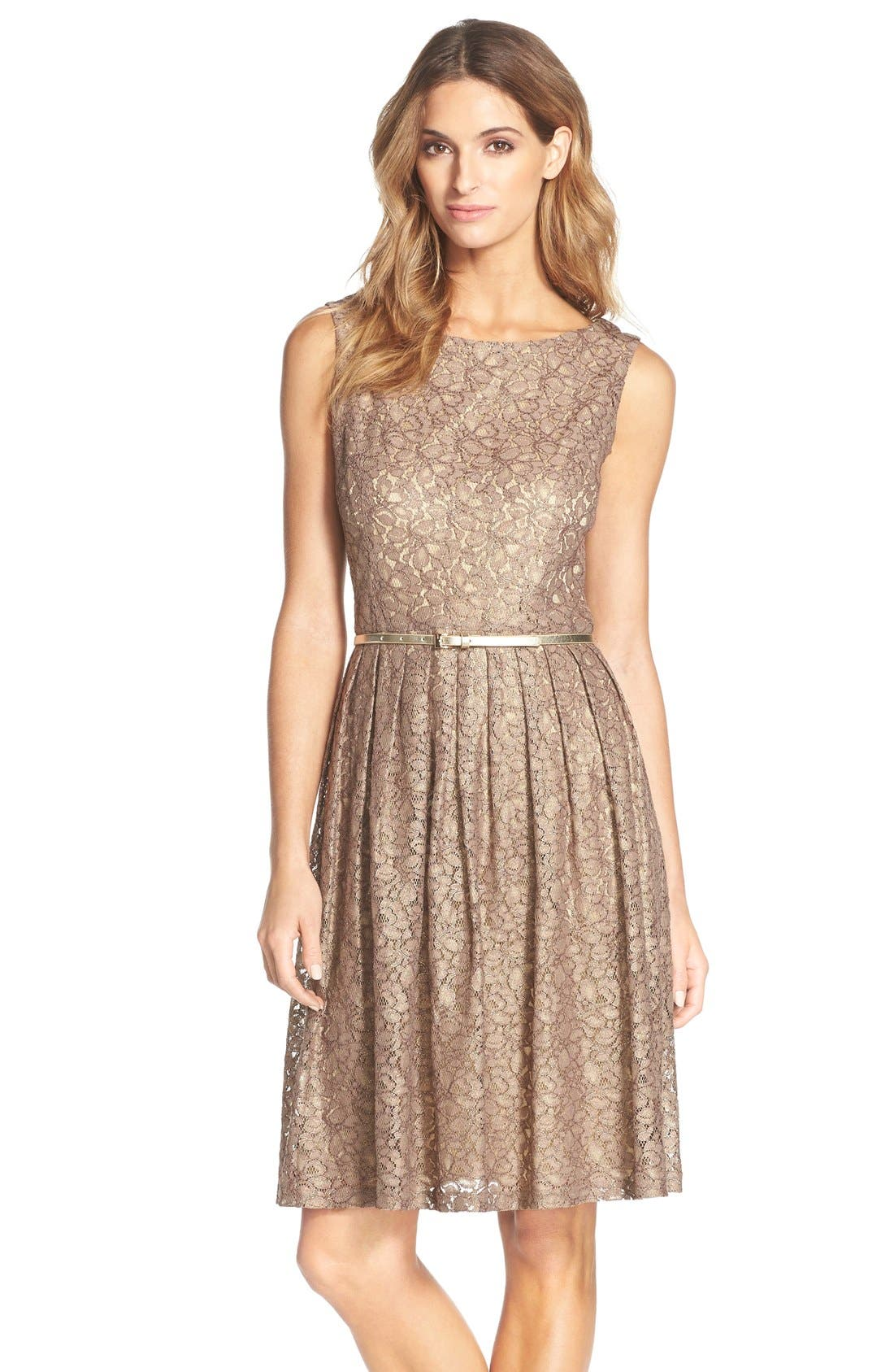 Ellen Tracy Pleated Lace Fit & Flare Dress (Regular & Petite)
