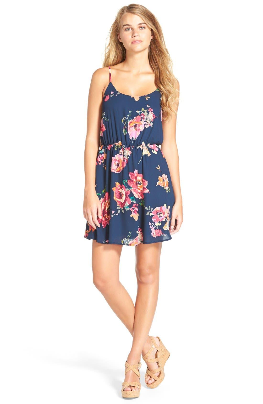 Main Image - Everly Floral Print Strap Back Skater Dress