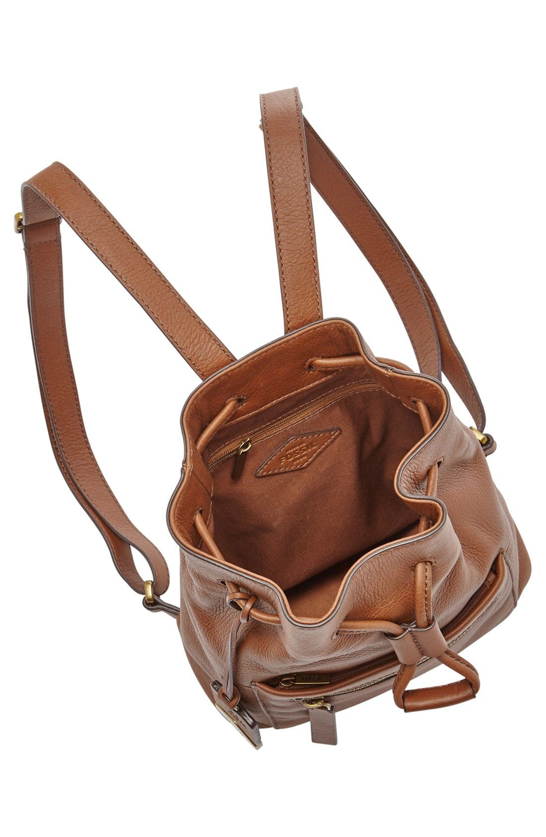 Alternate Image 3  - Fossil 'Vickery' Drawstring Leather Backpack