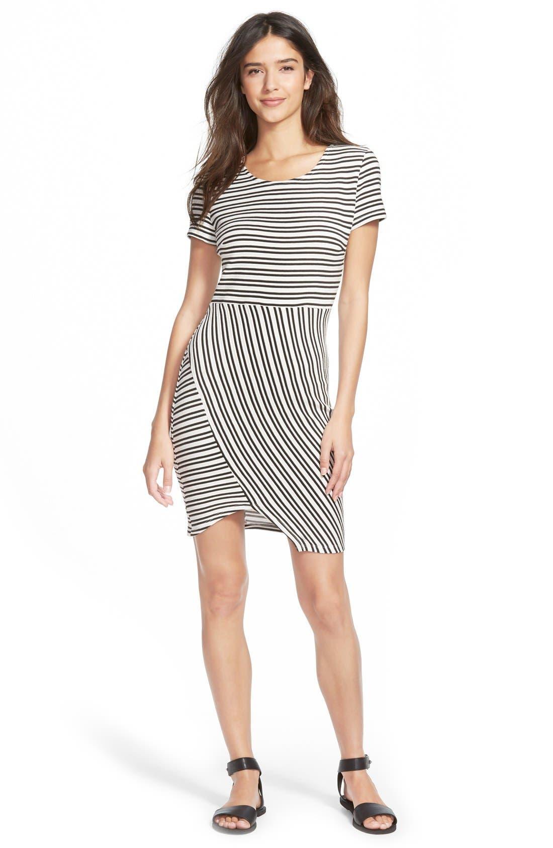 Alternate Image 1 Selected - Lush Stripe Knit Body-Con Dress