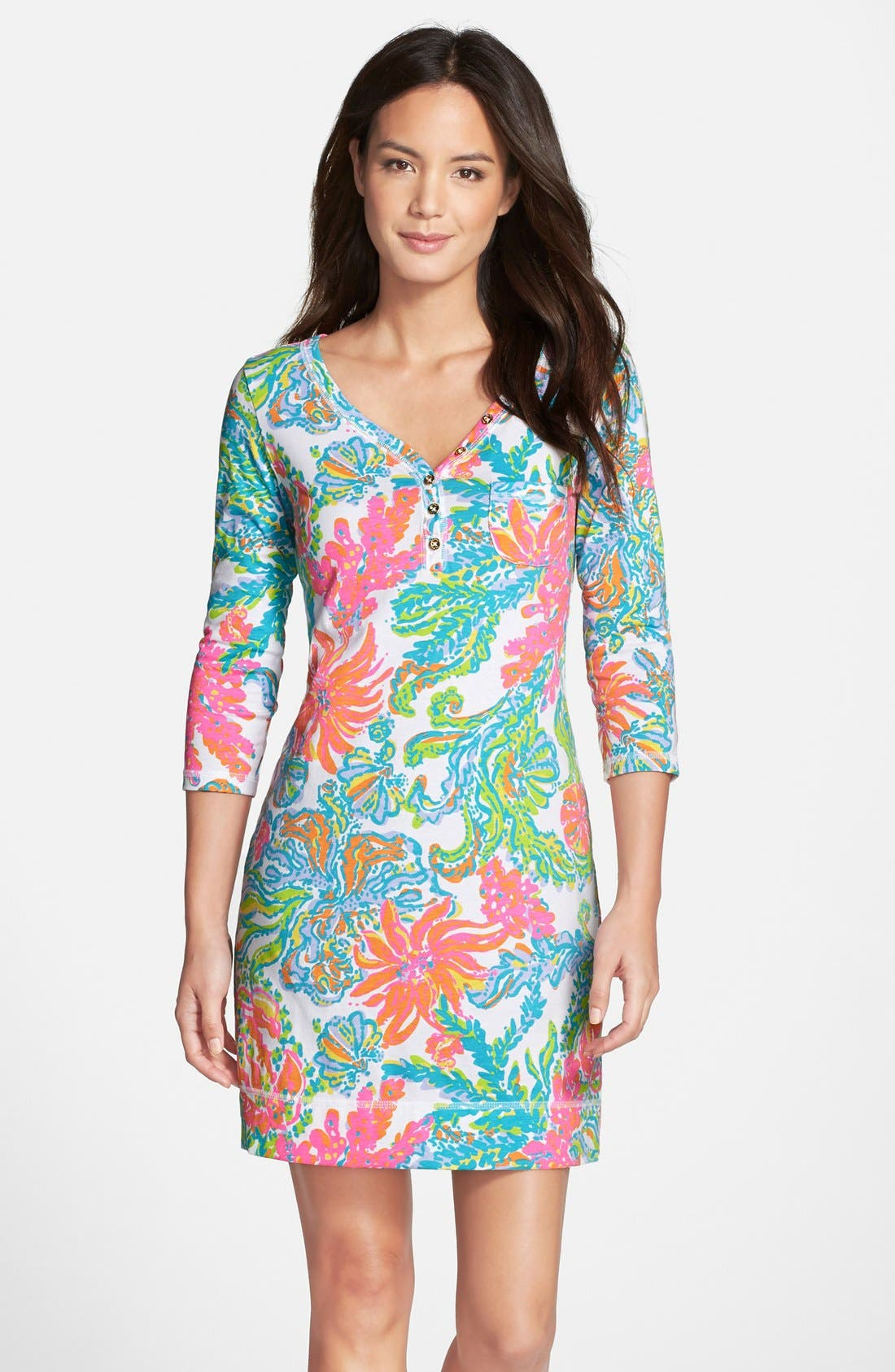 Alternate Image 1 Selected - Lilly Pulitzer® 'Palmetto' Print Pima Cotton T-Shirt Dress