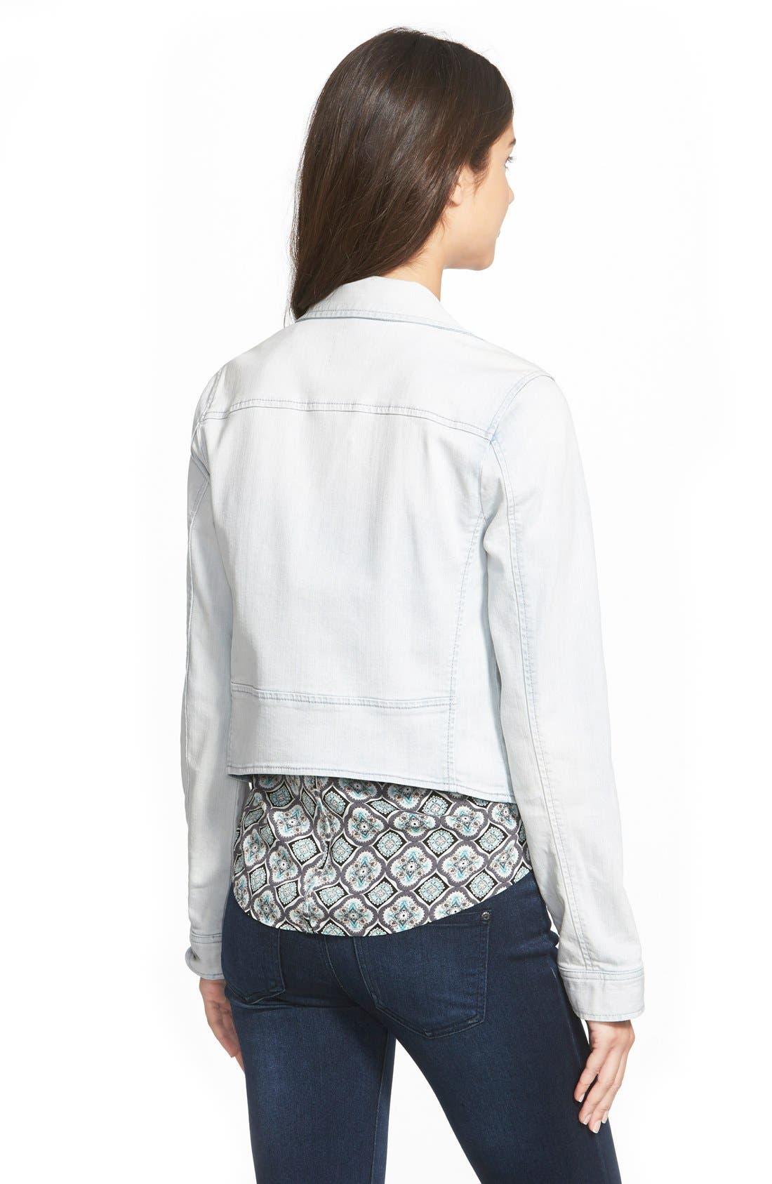 Alternate Image 3  - Frenchi® Denim Moto Jacket (Juniors)