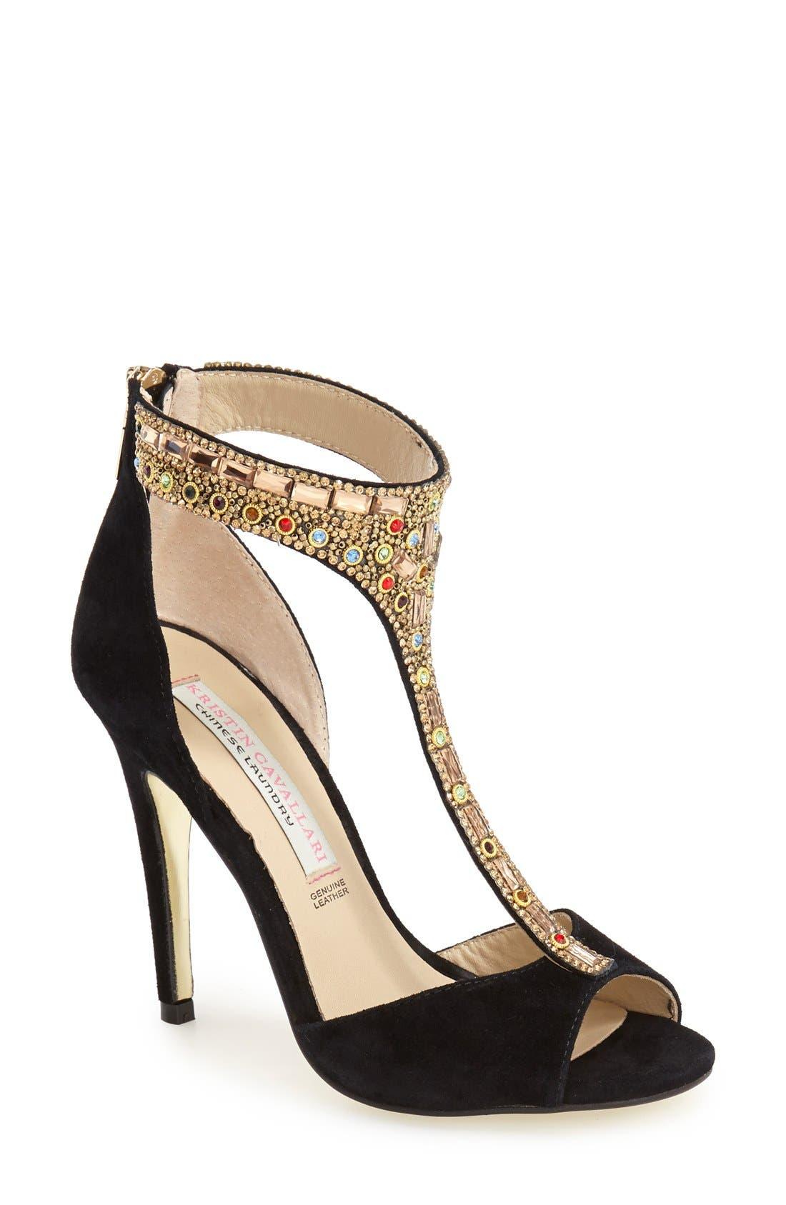 KRISTIN CAVALLARI 'Lena' Crystal T-Strap Sandal