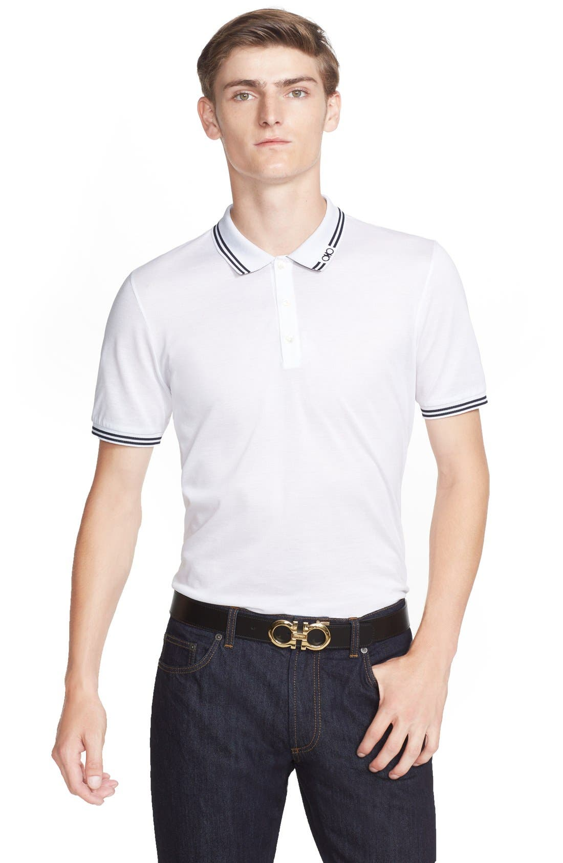 Main Image - Salvatore Ferragamo Piqué Trim Fit Polo