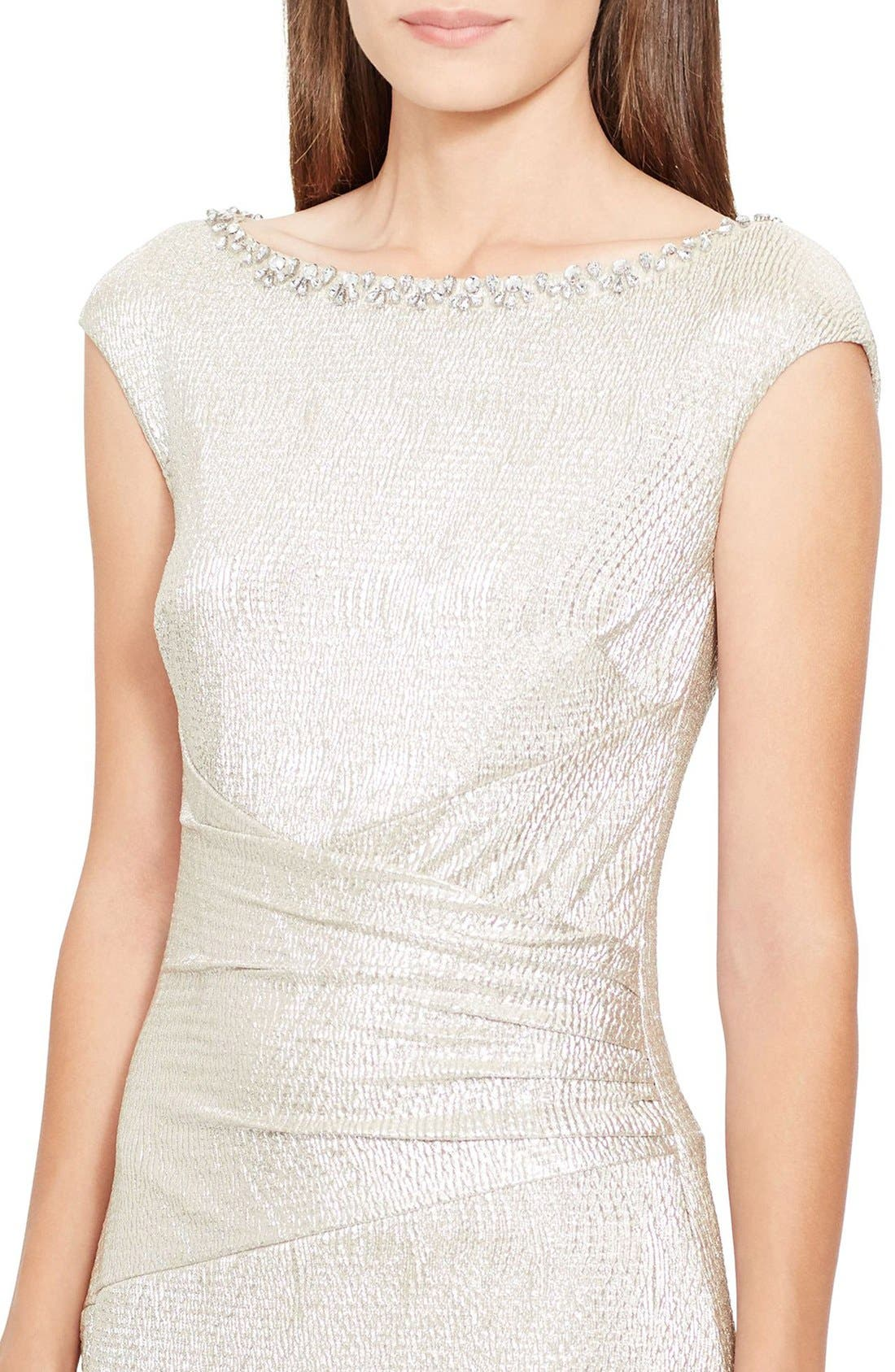 Alternate Image 3  - Lauren Ralph Lauren Embellished Metallic Knit Column Gown (Regular & Petite)