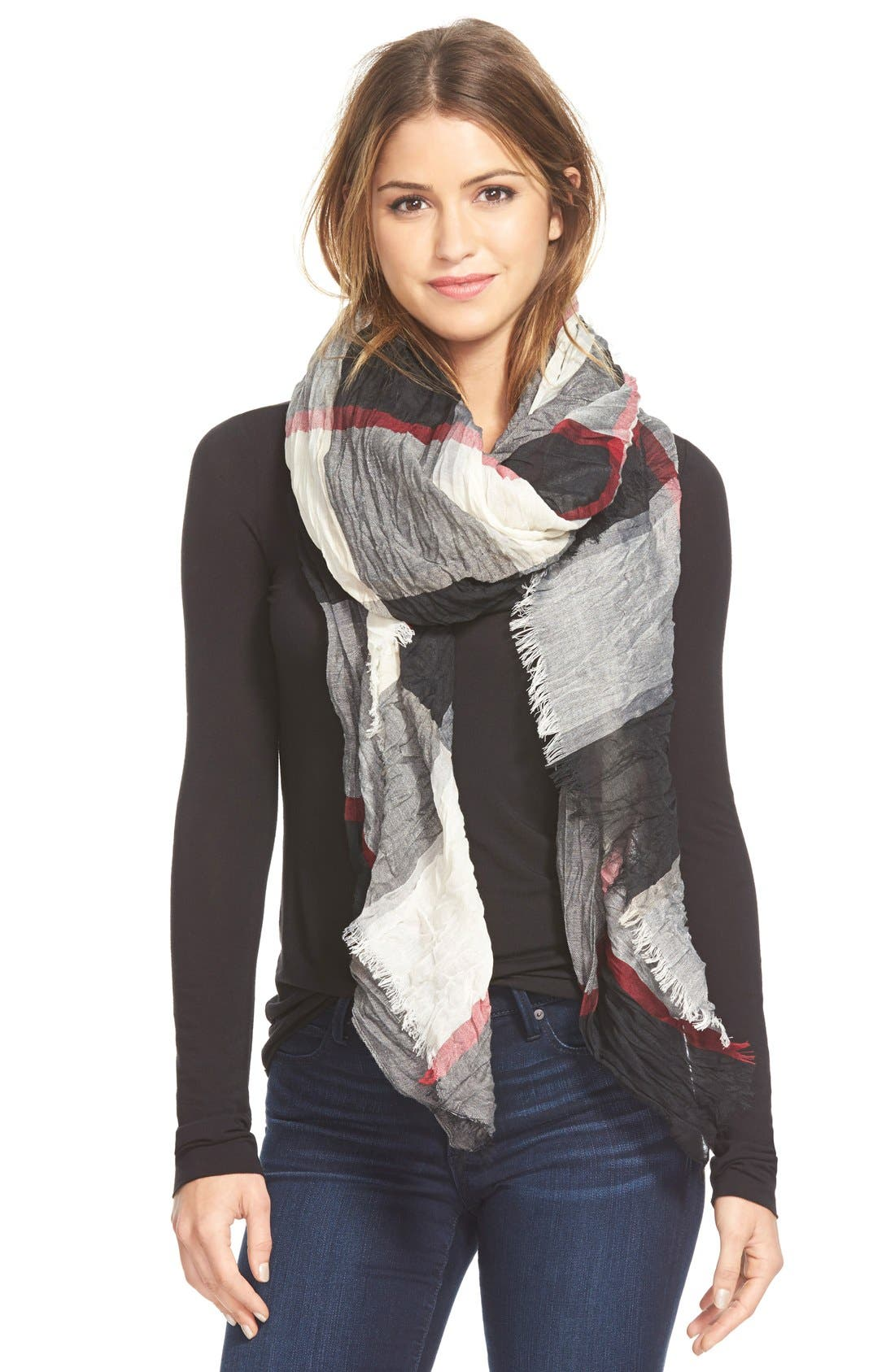 Alternate Image 1 Selected - Steve Madden Crinkle Plaid Scarf