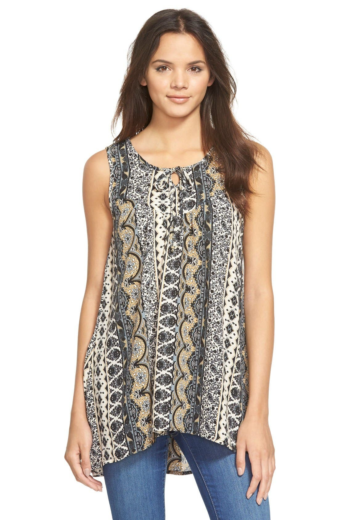 Alternate Image 1  - Sun & Shadow Lace Back Woven Print Top