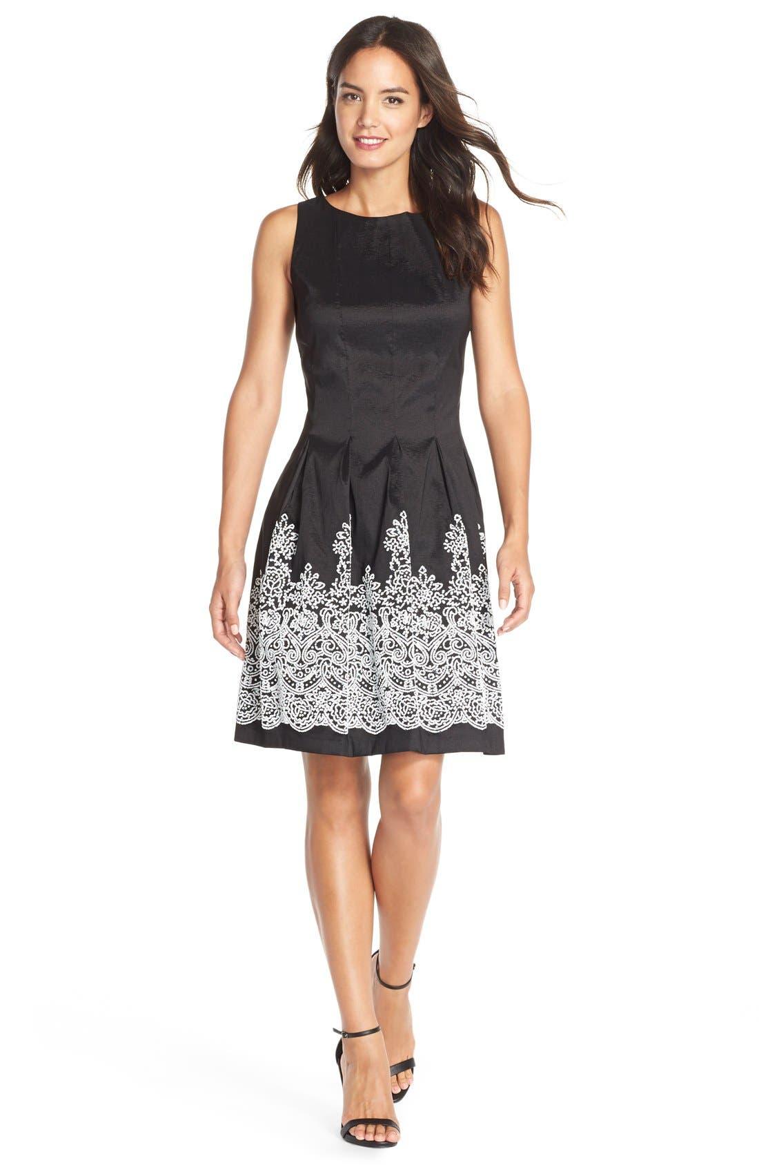 Alternate Image 1 Selected - ChettaB Embellished Hem Taffeta Fit & Flare Dress