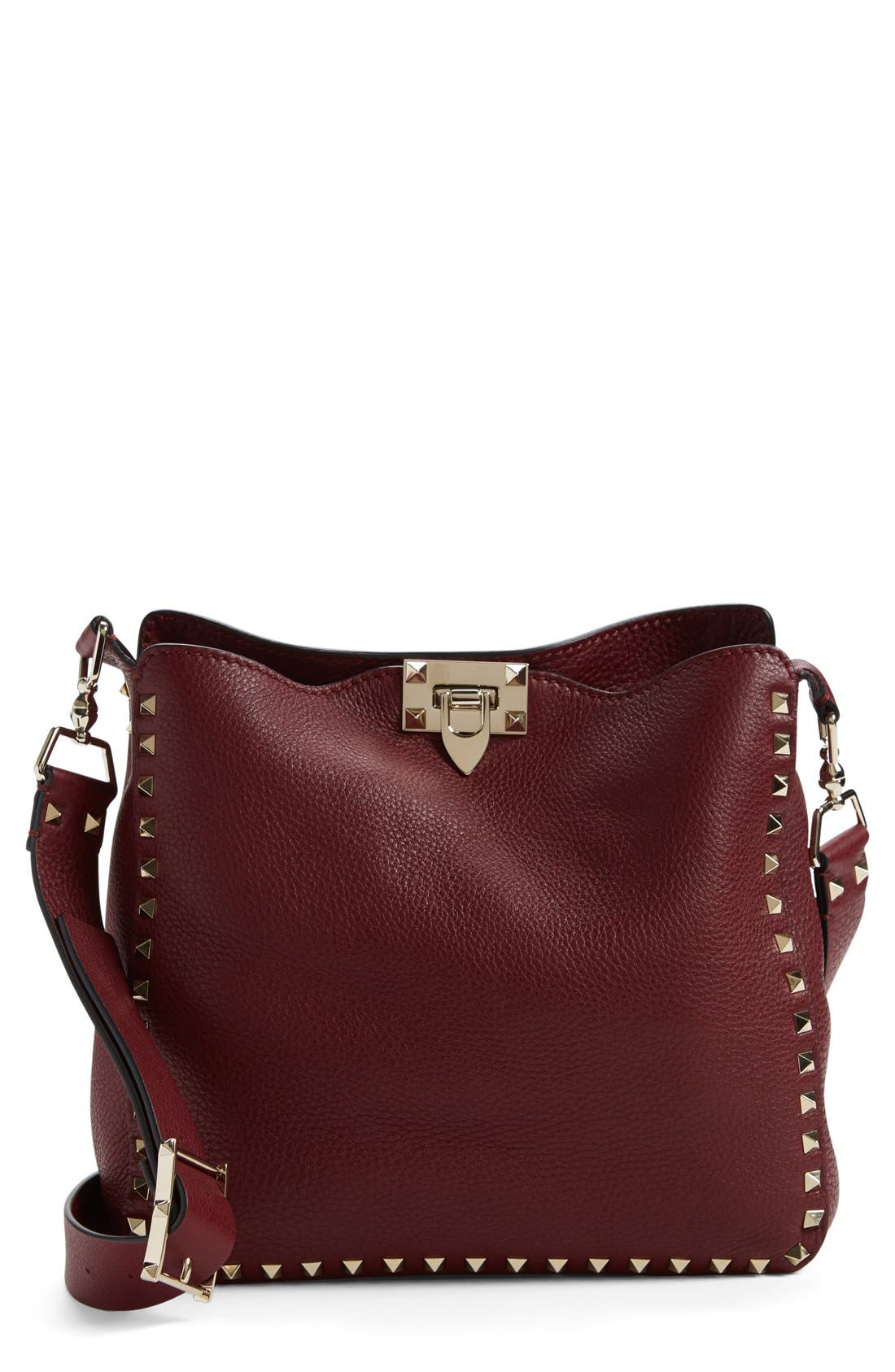 Alternate Image 1 Selected - Valentino 'Small Rockstud' Leather Hobo Bag