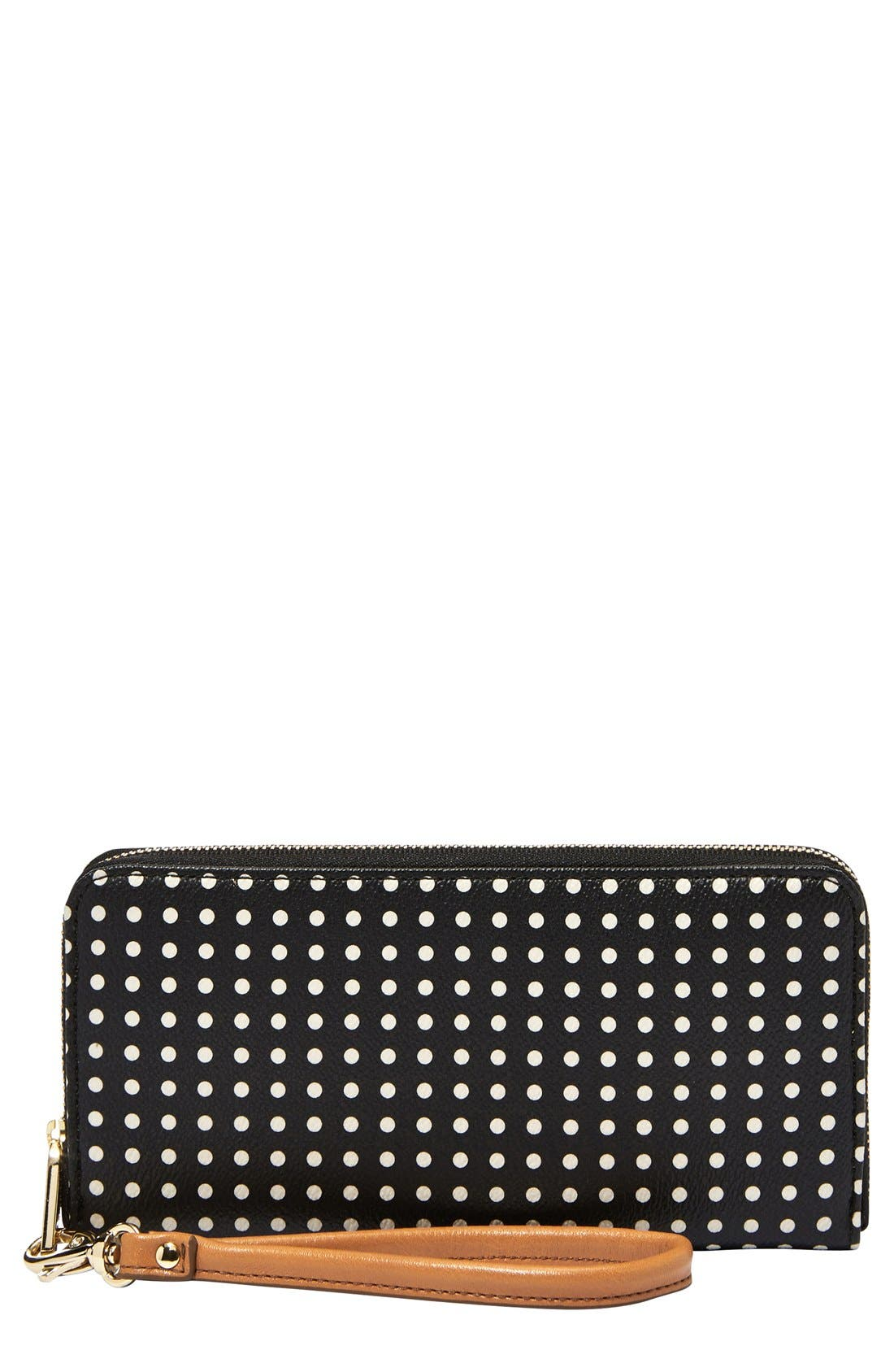 Main Image - Fossil 'Sydney' Print Leather Zip Clutch Wallet