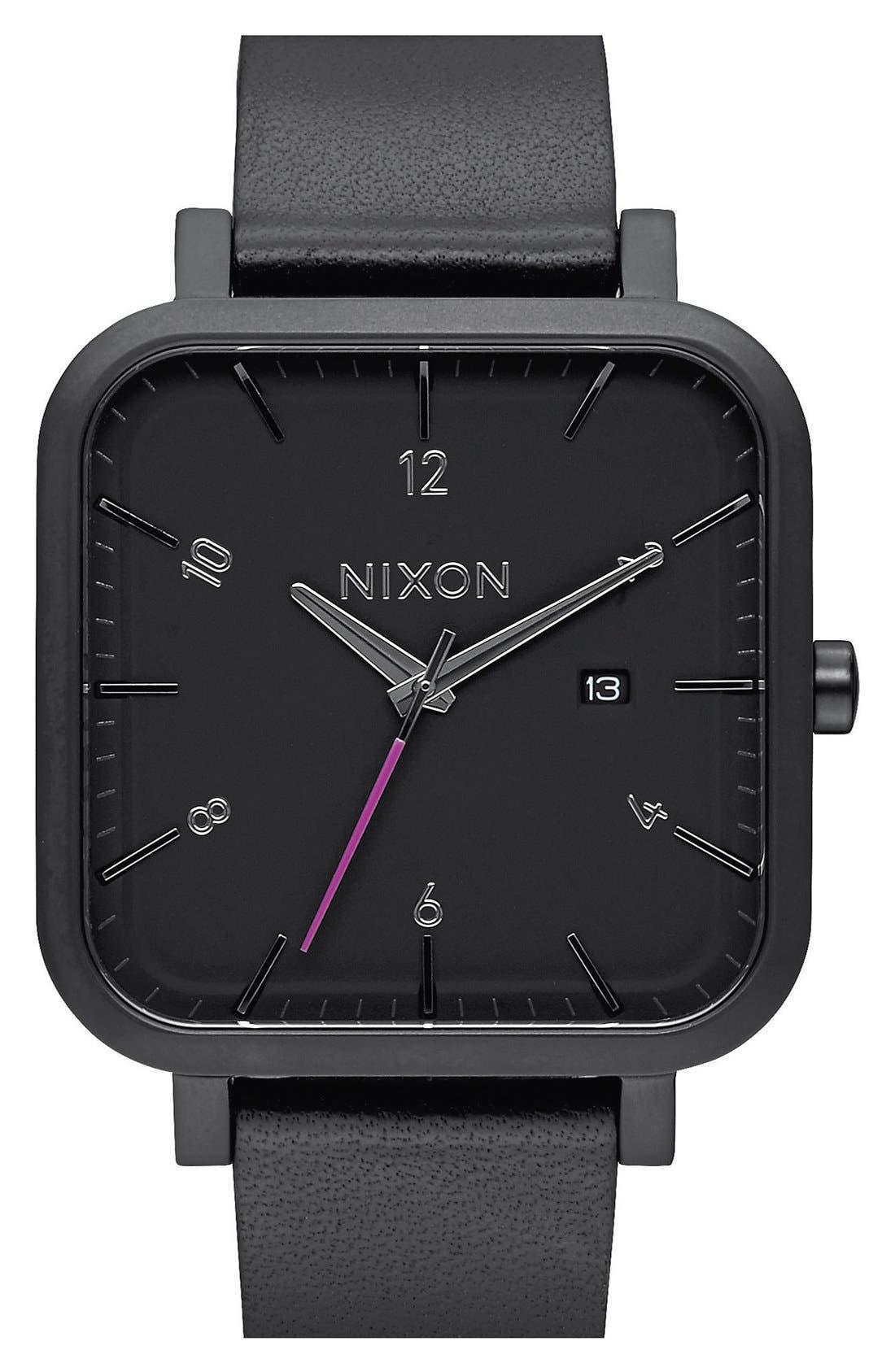 Nixon 'Ragnar' Square Leather Strap Watch, 40mm x 40mm