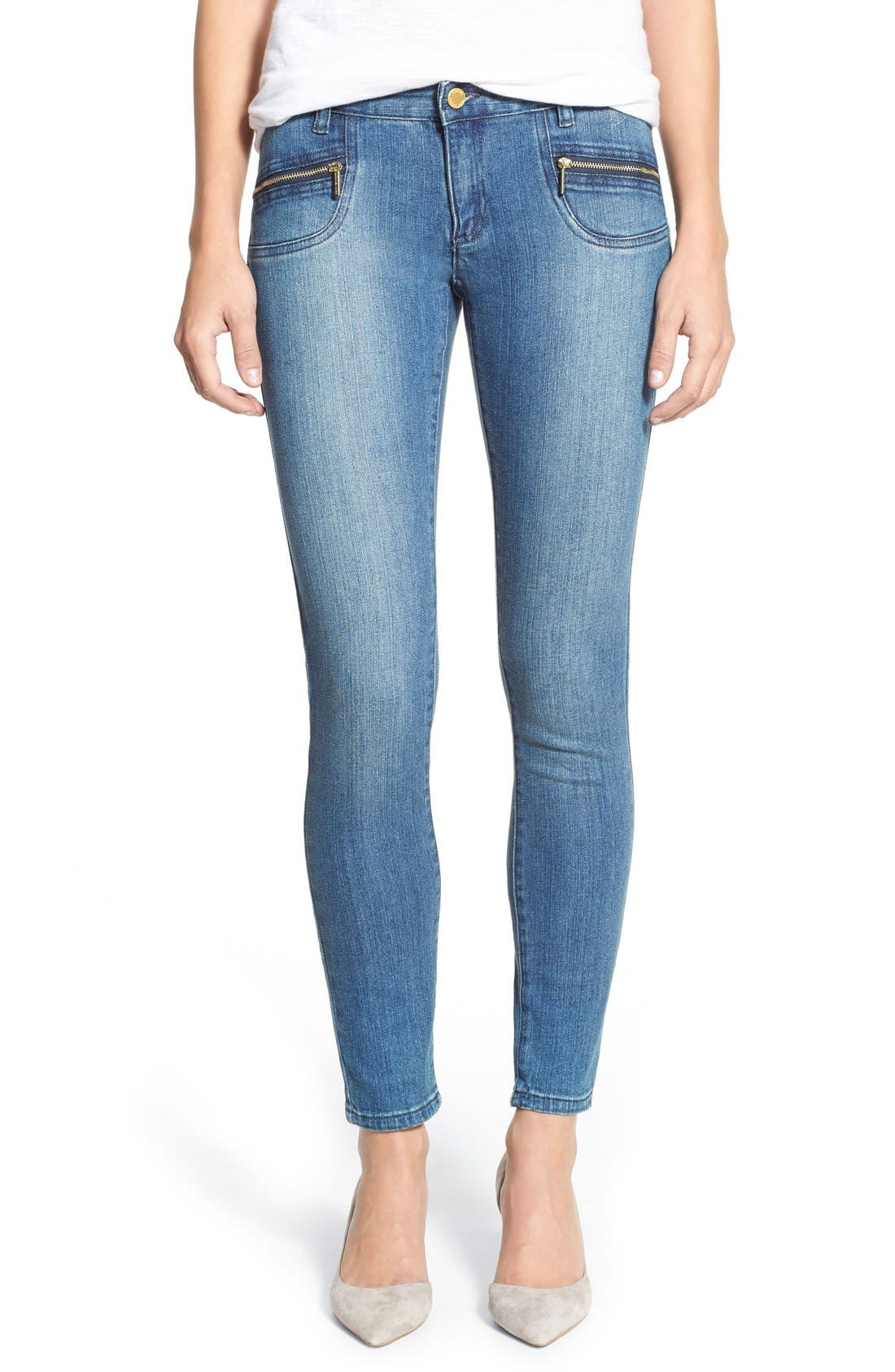 Alternate Image 1 Selected - MICHAEL Michael Kors Stretch Zip Pocket Ankle Skinny Jeans (Veruschka)