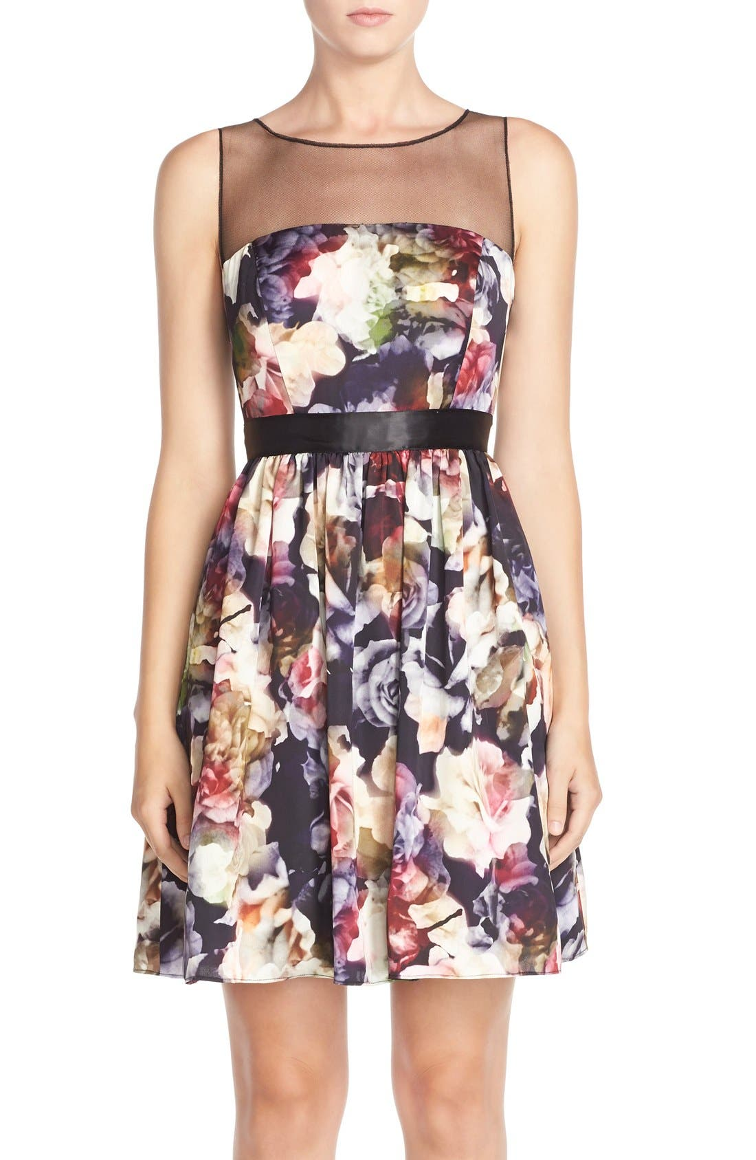 Main Image - Adrianna Papell Floral Charmeuse Fit & Flare Dress