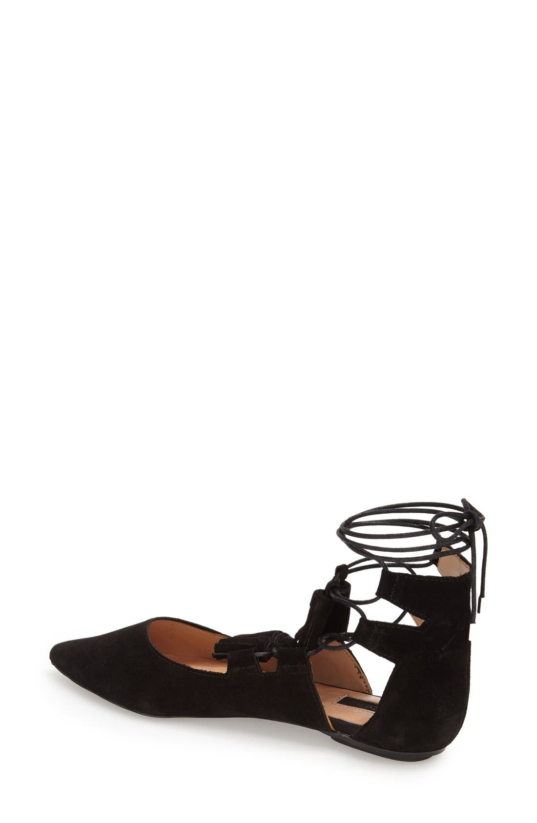 Alternate Image 2  - Topshop'Leather Kiss' Pointy Toe GhillieFlat (Women)