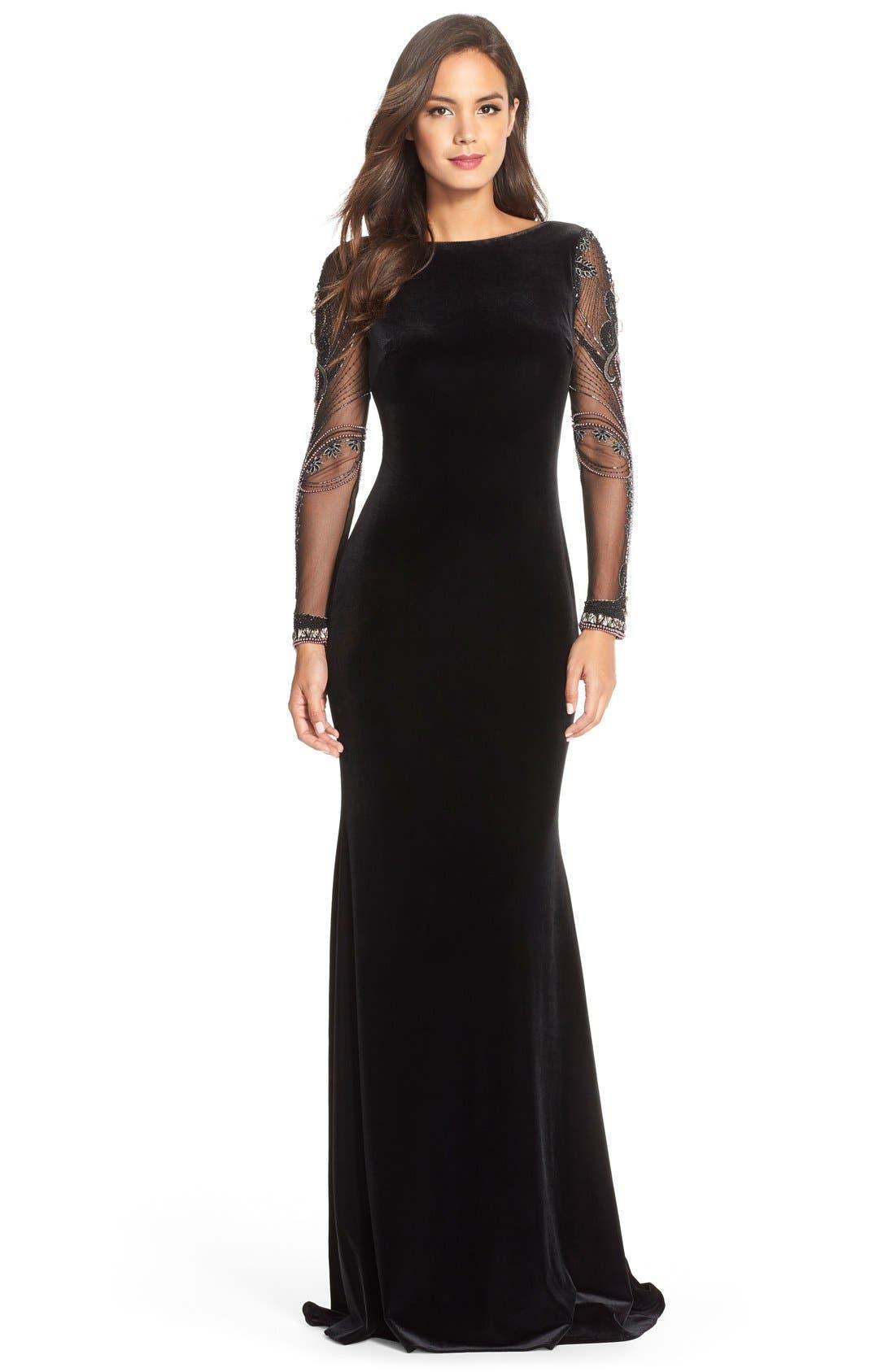Main Image - Badgley MischkaBeaded Mesh & Velvet Gown