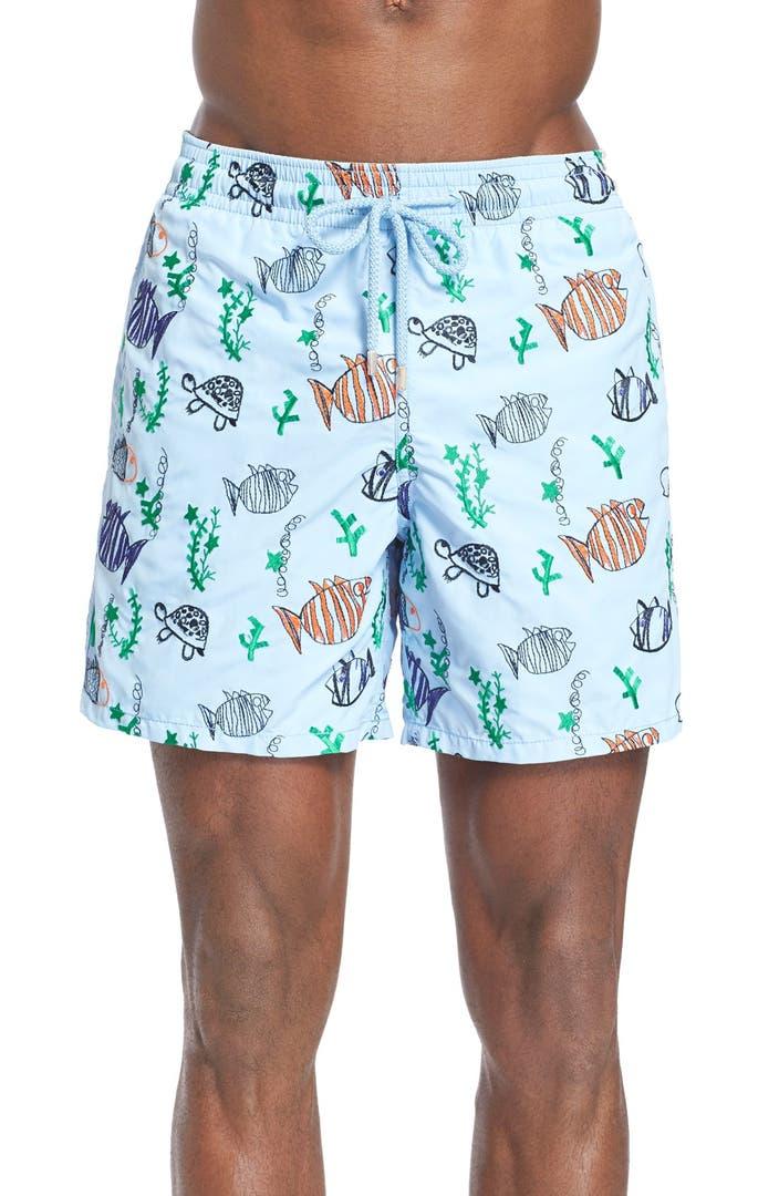 Vilebrequin 39 mistral moon fish 39 embroidered swim trunks for Fishing swim trunks
