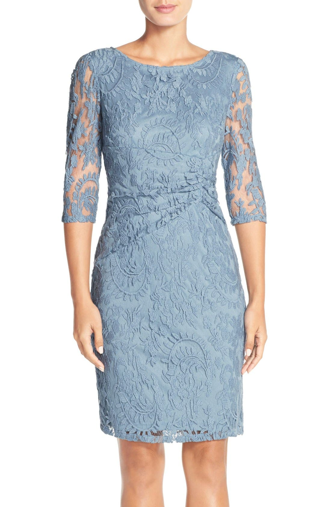 ADRIANNA PAPELL Ruched Lace Sheath Dress