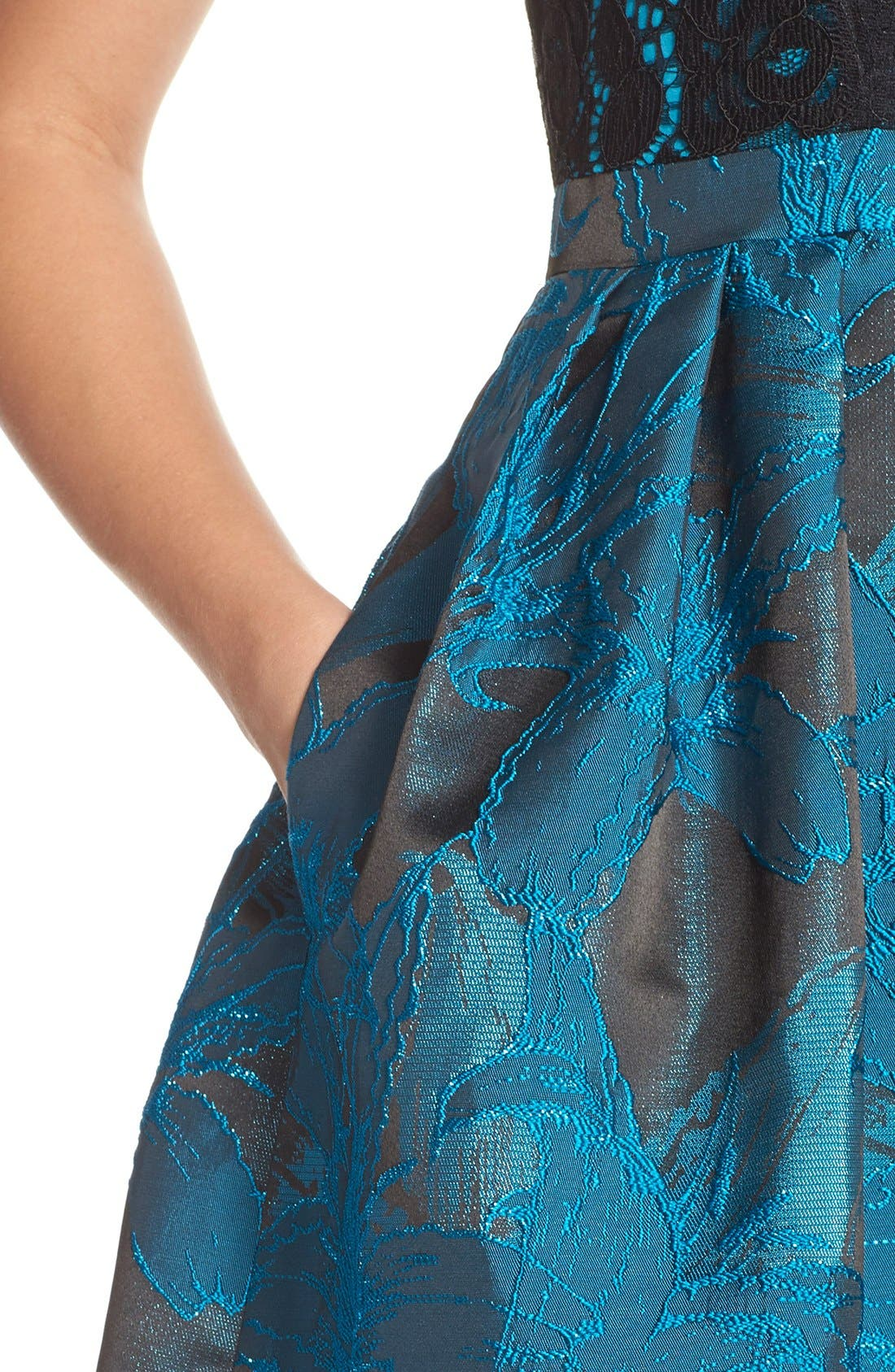Alternate Image 5  - Adrianna Papell Lace Jacquard Fit & Flare Dress (Regular & Petite)