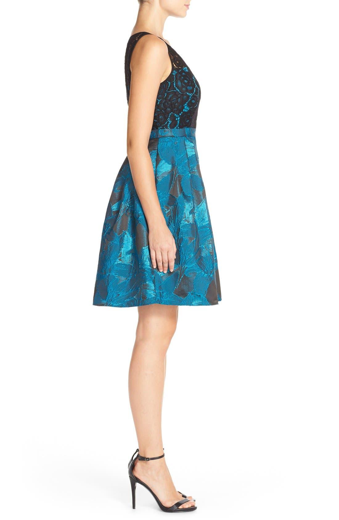 Alternate Image 3  - Adrianna Papell Lace Jacquard Fit & Flare Dress (Regular & Petite)