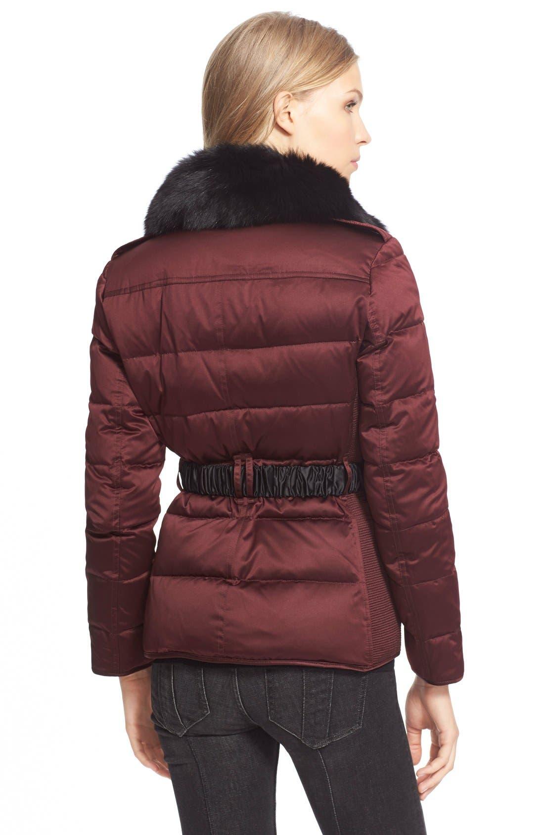Alternate Image 2  - BurberryBrit Belted Down Jacket withGenuineFoxFurCollar