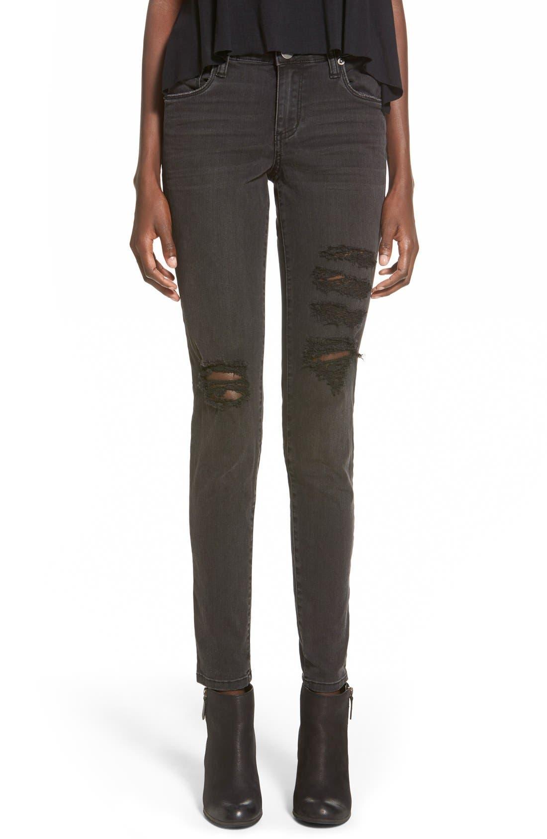 Alternate Image 1 Selected - STSBlue 'Piper' Destroyed Skinny Jeans (Black)