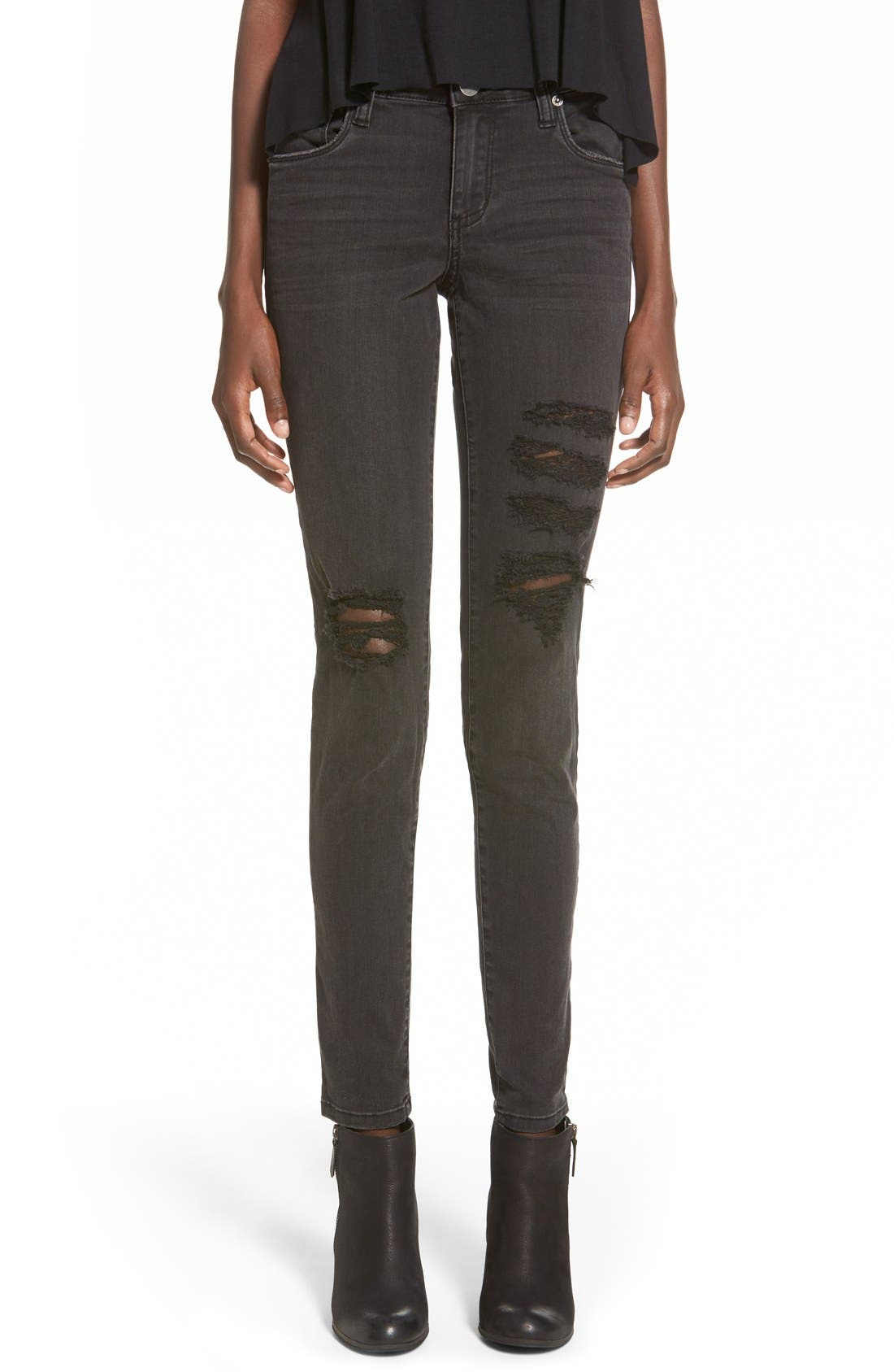 Main Image - STSBlue 'Piper' Destroyed Skinny Jeans (Black)