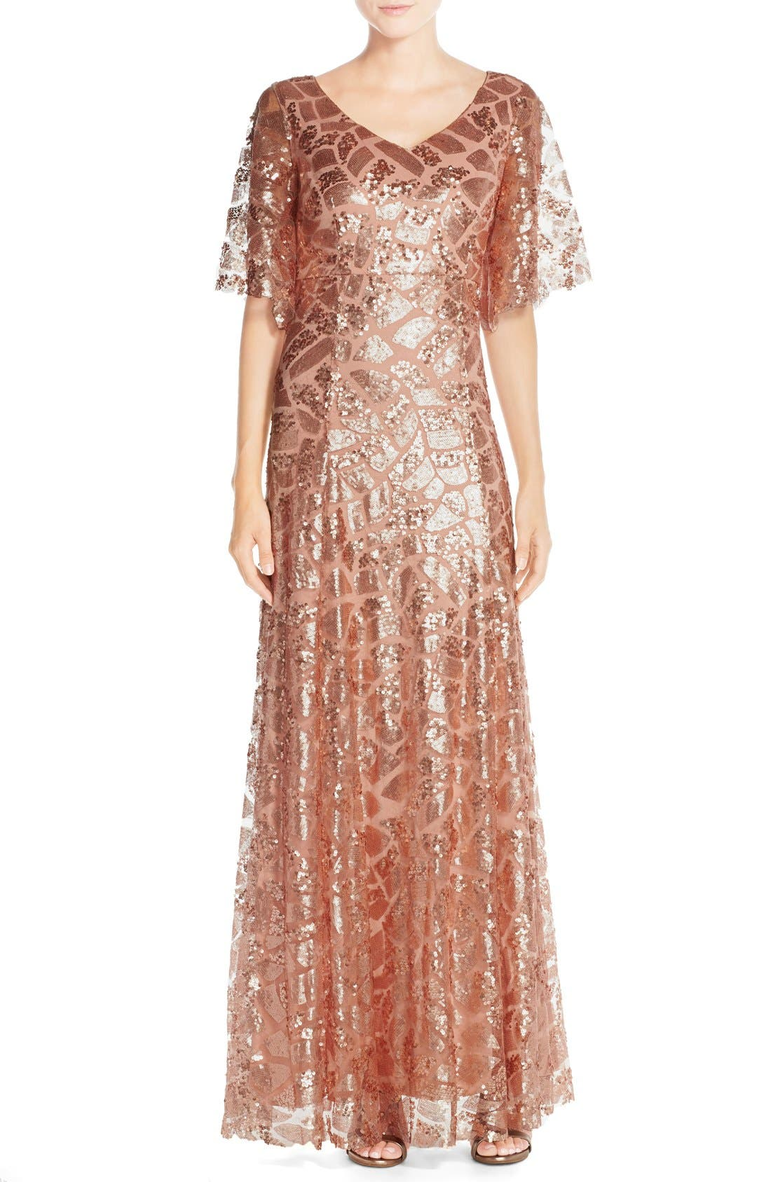 Main Image - Donna Morgan 'Camilla' Sequin Flutter Sleeve Gown
