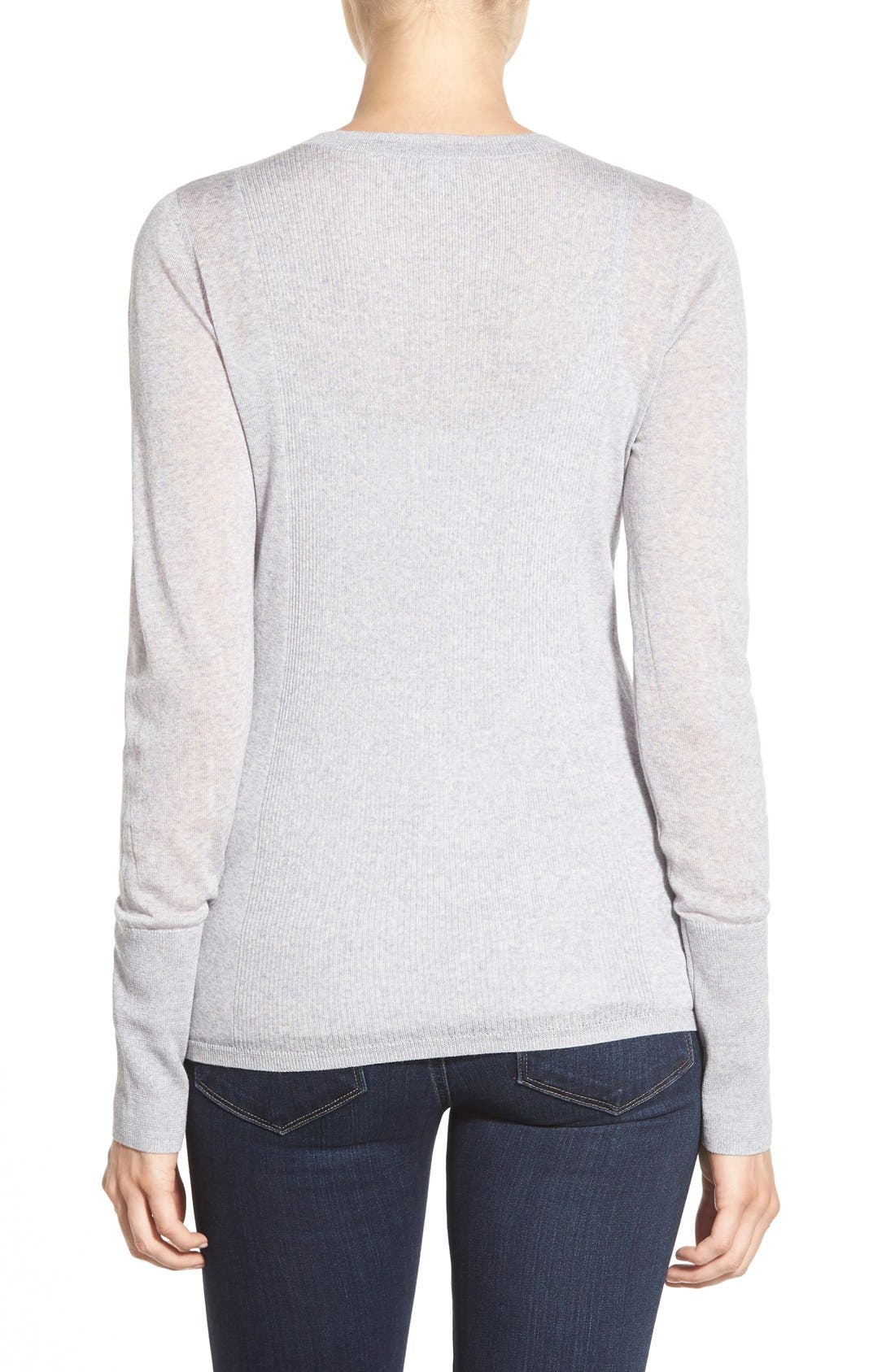 Alternate Image 2  - Halogen® Rib Detail Lightweight Merino Wool Sweater (Regular & Petite)