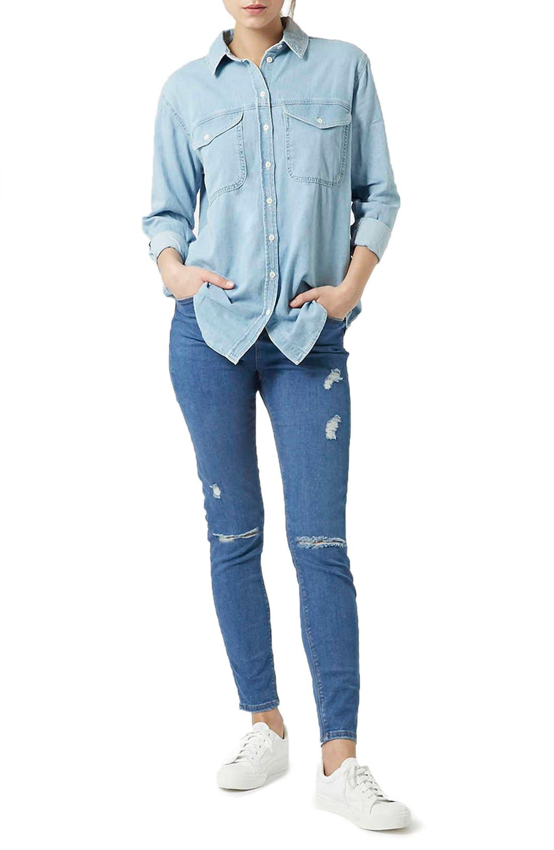 Alternate Image 2  - Topshop Moto 'Jamie' Ripped Skinny Jeans (Mid Denim) (Tall)