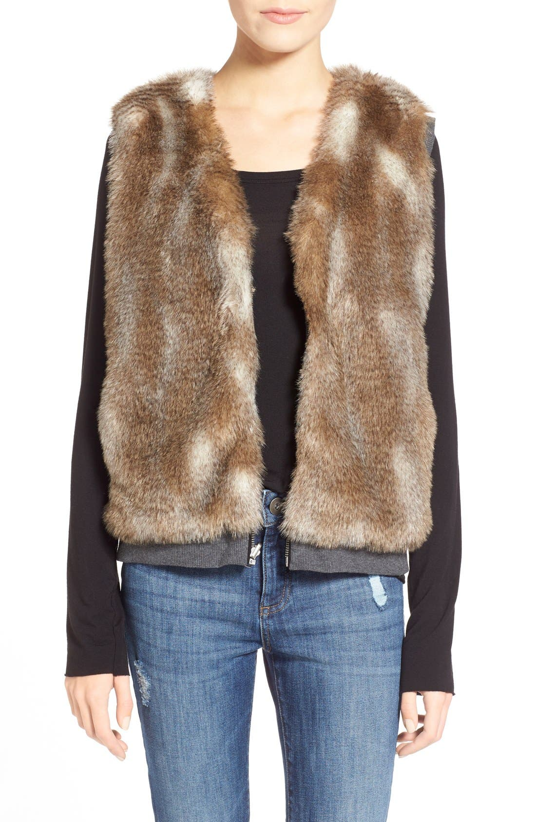 Alternate Image 1 Selected - Splendid 'Ashville' Faux Fur Reversible Vest