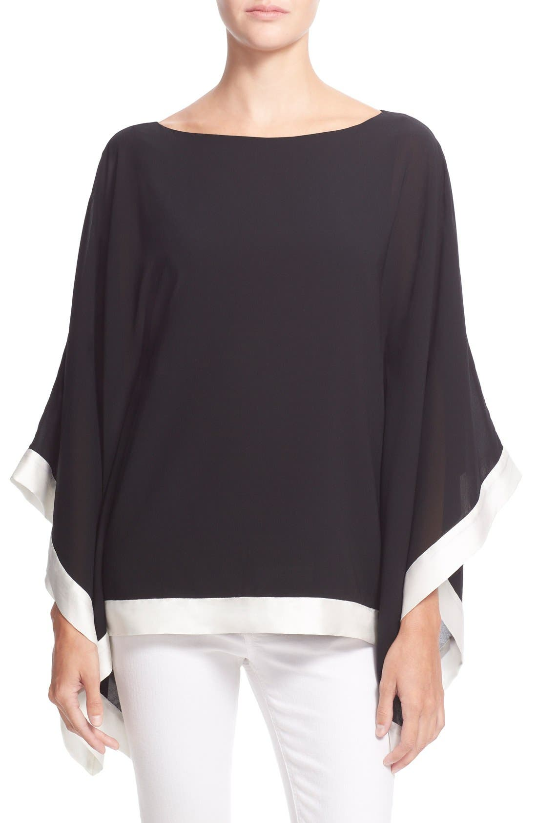 Alternate Image 1 Selected - Alice + Olivia 'Chesney' Boatneck Stretch Silk Poncho