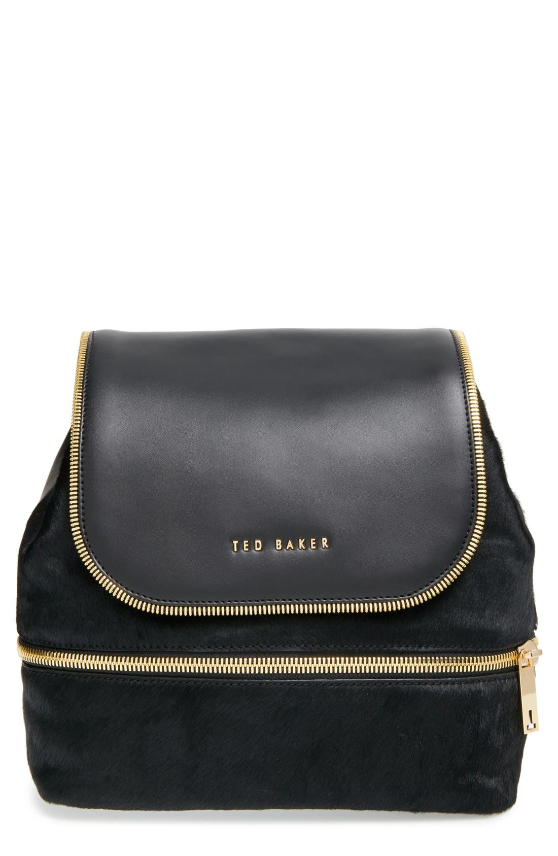 Main Image - Ted Baker London Genuine Calf Hair & Leather Backpack