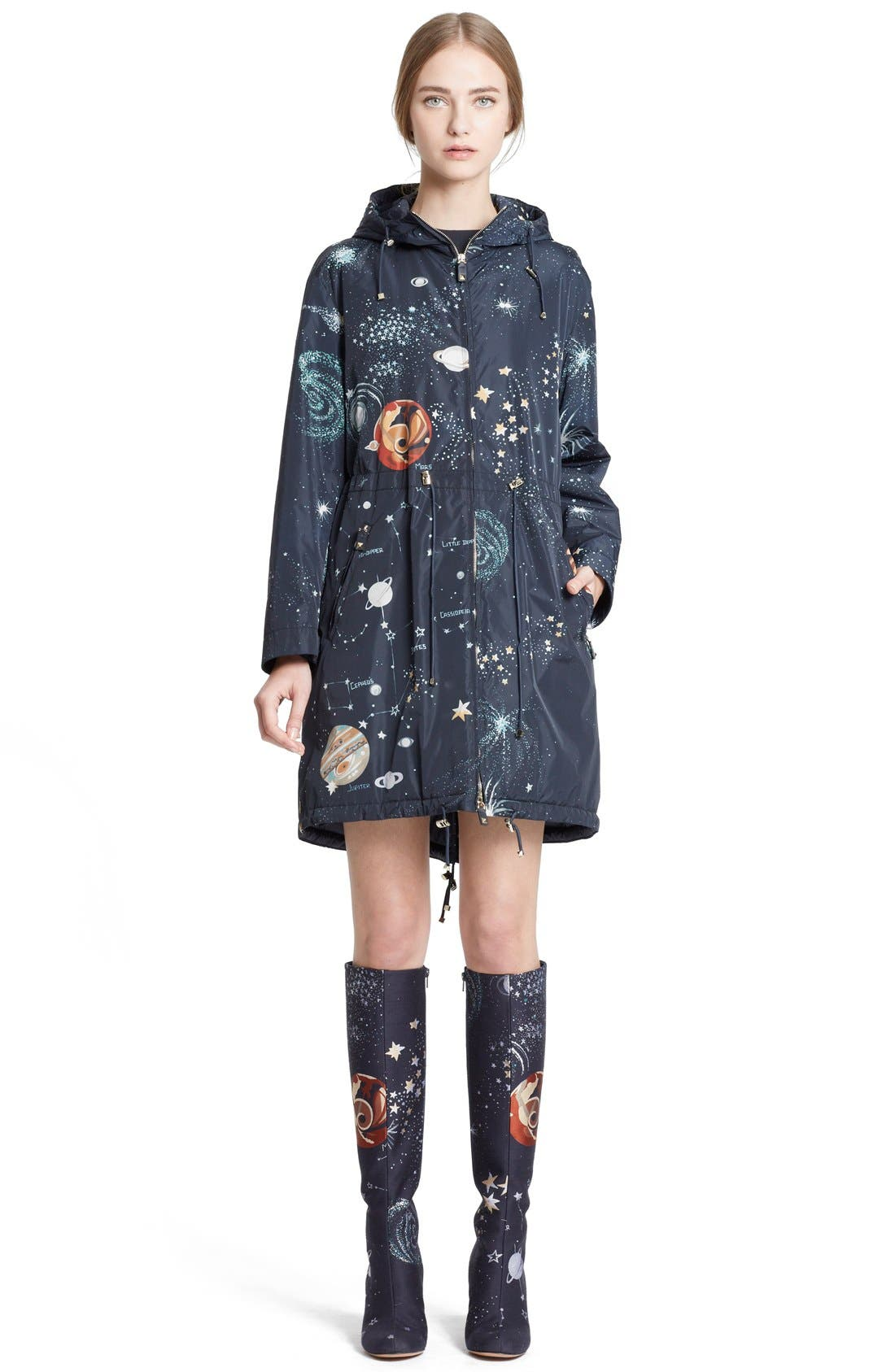 Alternate Image 1 Selected - Valentino Cosmos Print Hooded Coat